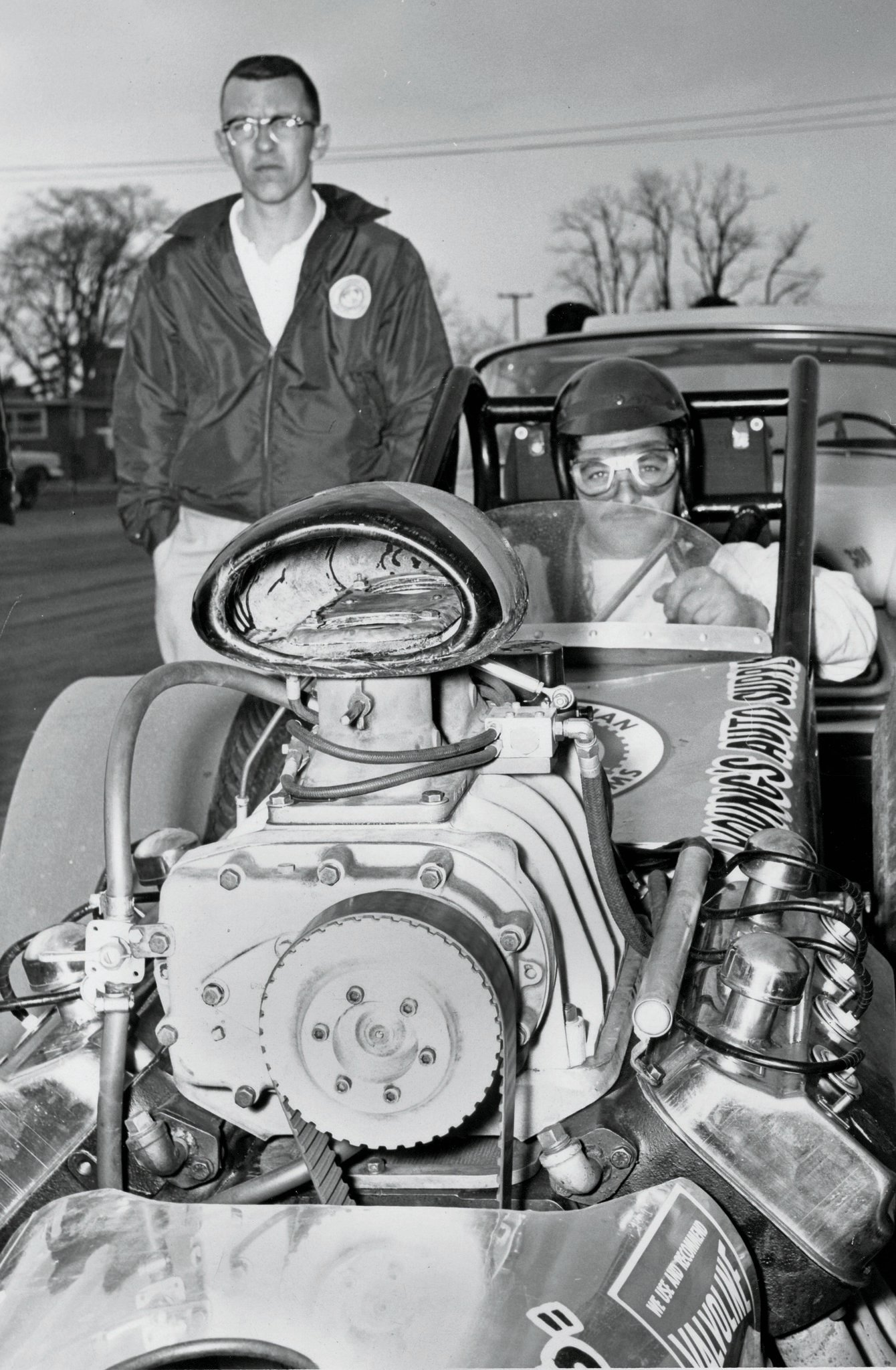 Strapped in and ready to go at Detroit Dragway in the early 1960s.
