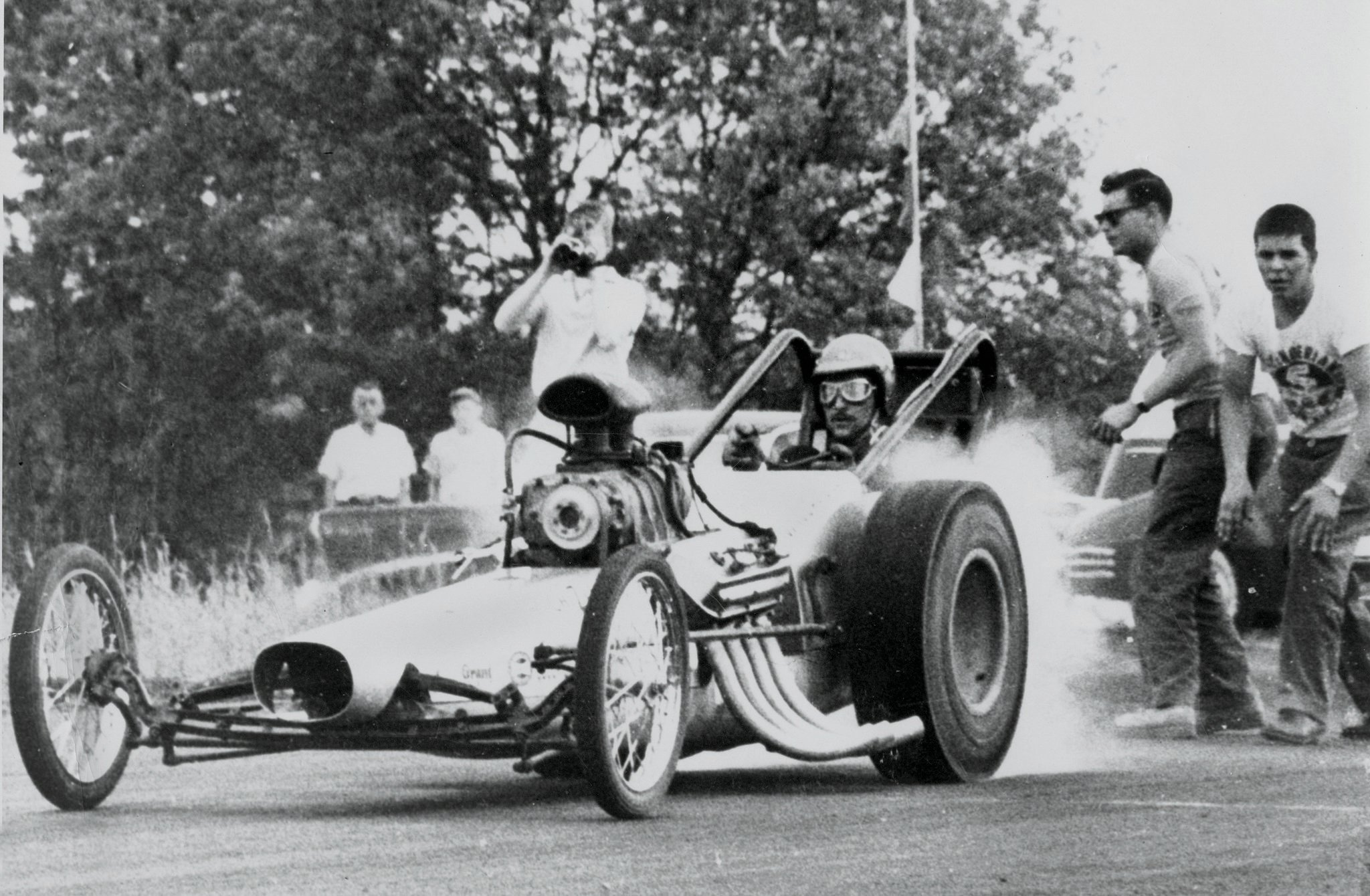 In late 1957 the Greek and his new partner, Don Maynard, built a car using pre-bent tubing from Scotty Fenn's Chassis Research. They ran it for about five years, lengthening the wheelbase more than once. Some say this photo was taken at Alton, Illinois, on the 204-mph pass of April 1960.