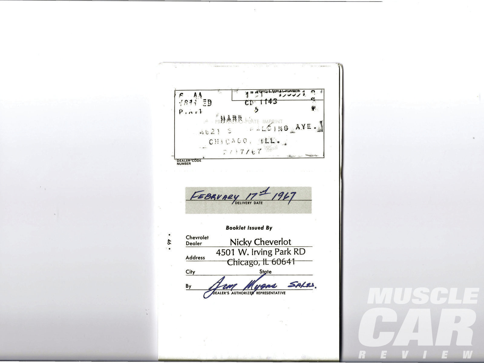 "Some forged documents are tough to spot; others aren't. Nickey Chicago's Stefano Bimbi was recently asked to confirm that a Chevelle came from Nickey Chevrolet. This was among the documents offered to support the car's ""authenticity."""