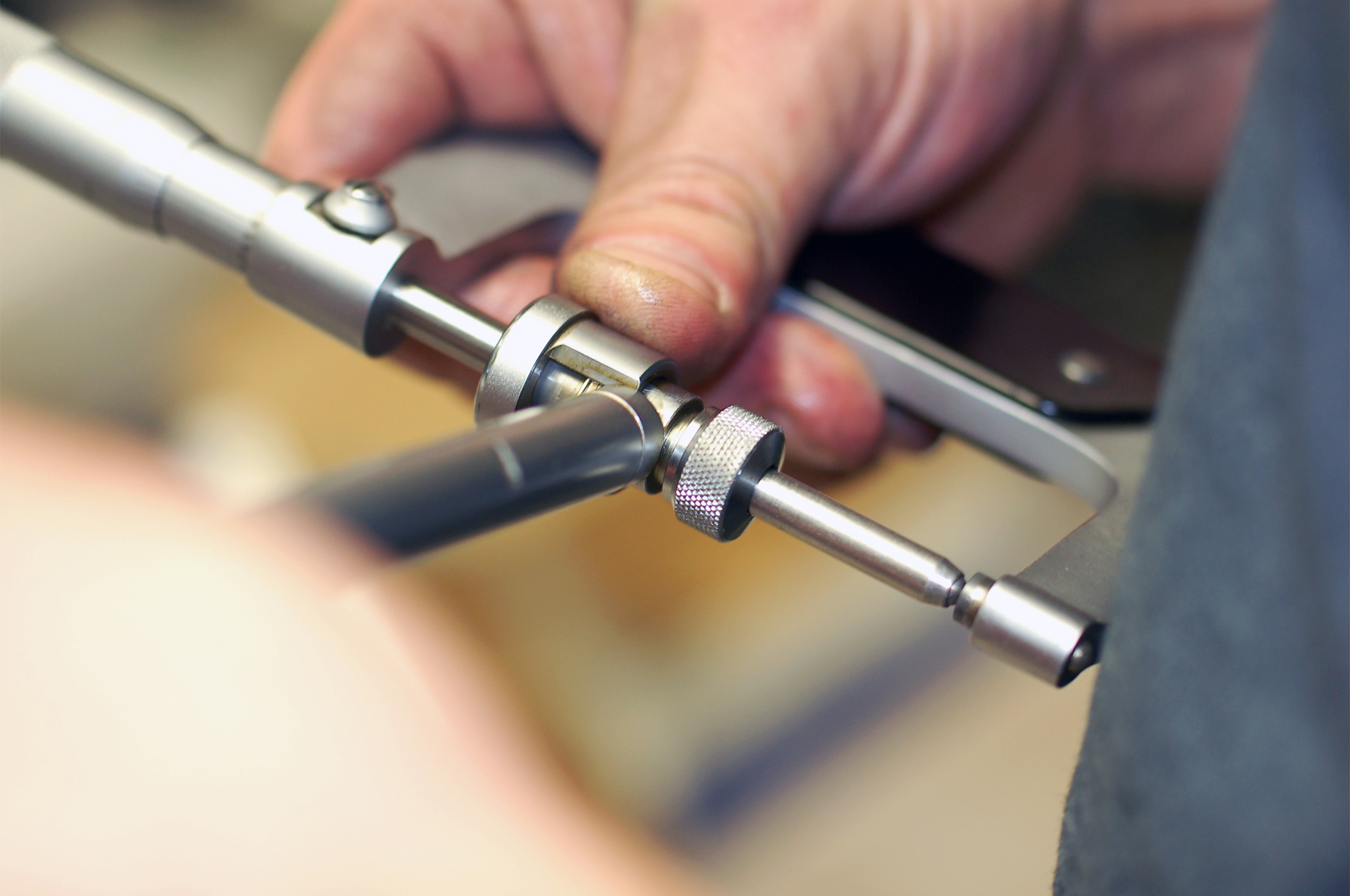 For hard-to-reach areas that need to be checked, the tool of choice is a dial bore, you want one that is graduated into ten thousands of an inch or 0.0001; the tool is set from gauge blocks or the appropriate size micrometer. These come in handy for any bore that you need to measure very accurately.