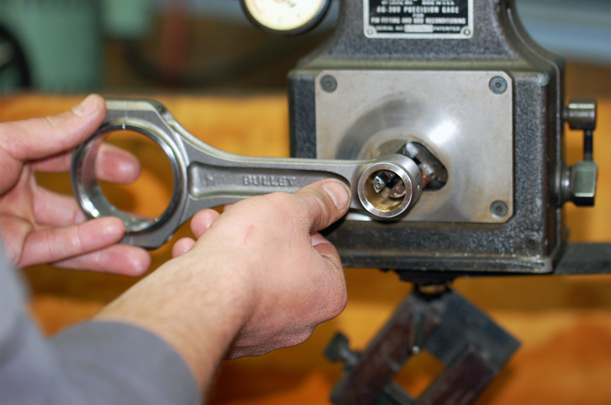 To match the wrist pin diameter to the rod bore, we carefully resize the bore for a perfect fit of 0.0005.
