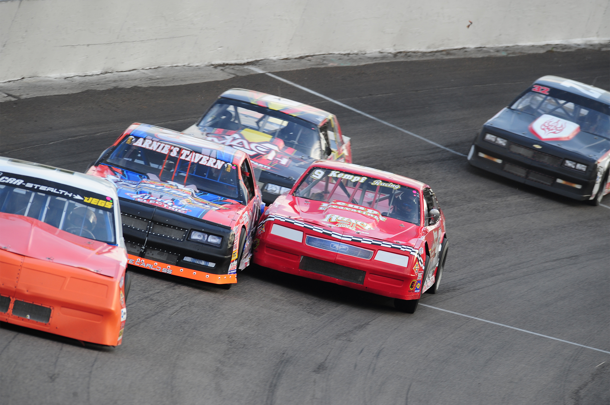 Nothing better than close Street Stock racing as Todd Kempf and Brian Bayer rub fenders.