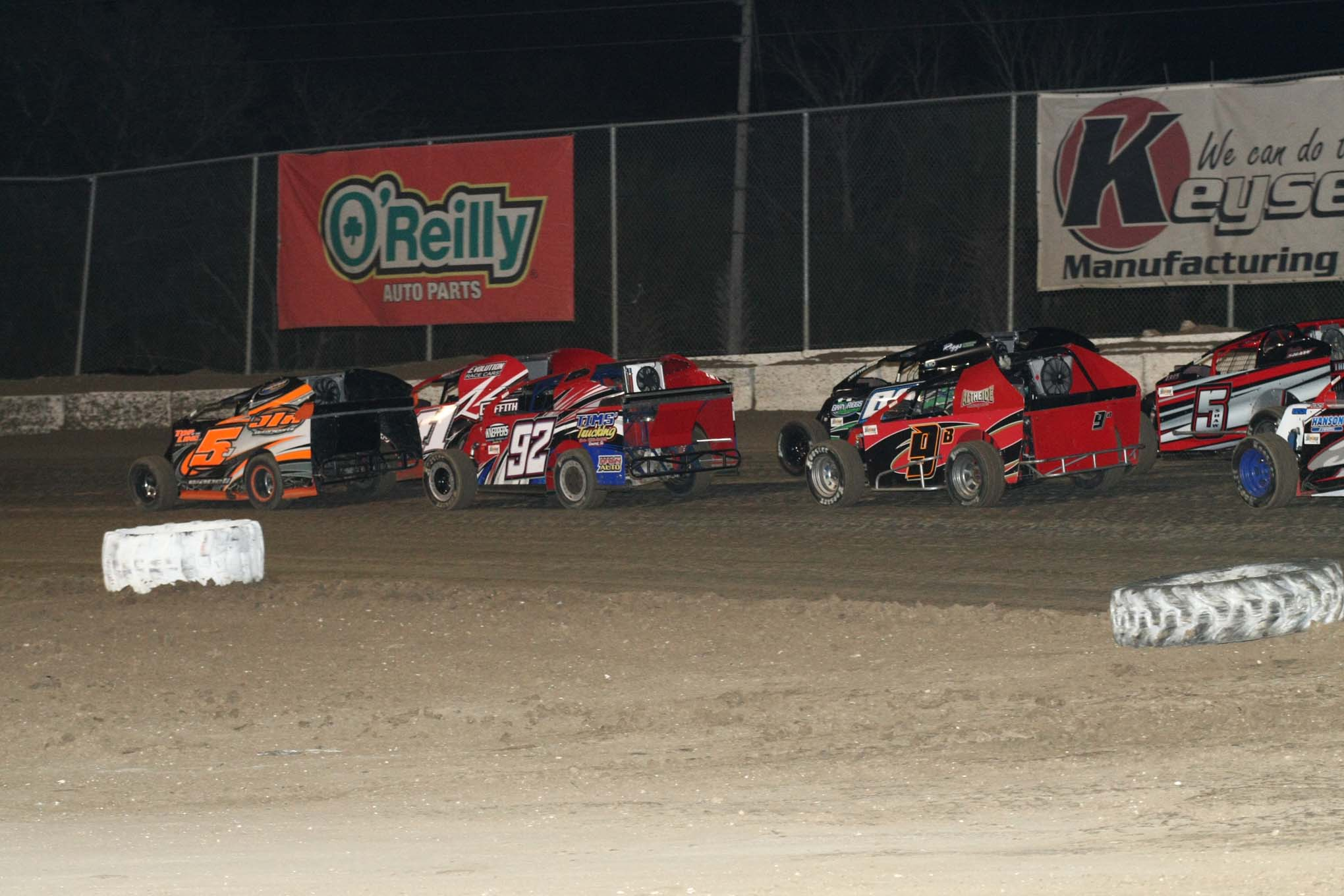 A full field of Mod Lites line up for their feature at Bubba Raceway Park in Ocala, Florida.