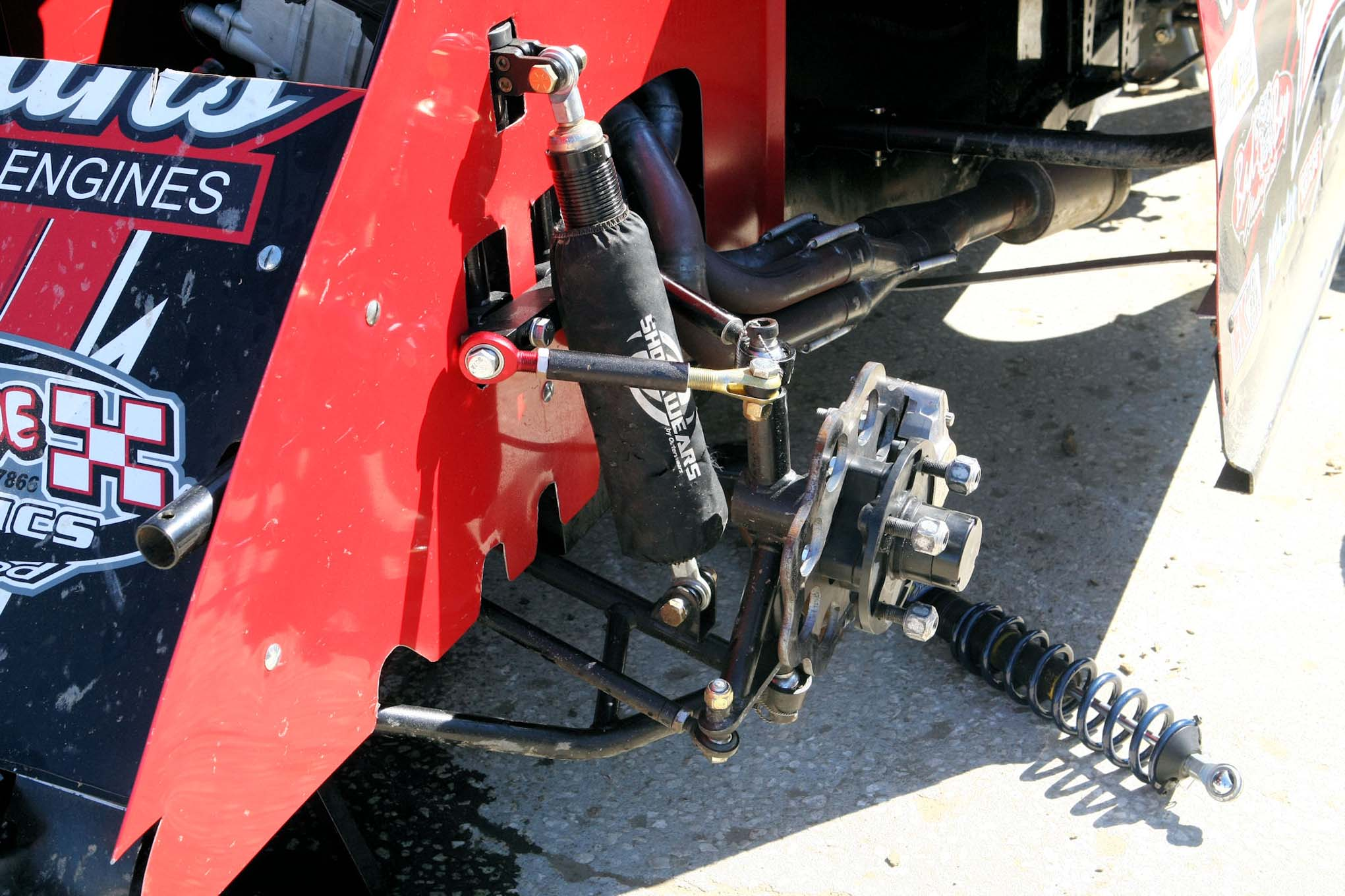 A view of the front suspension shows the shock, the STARS series has a $100 claim rule on each shock.