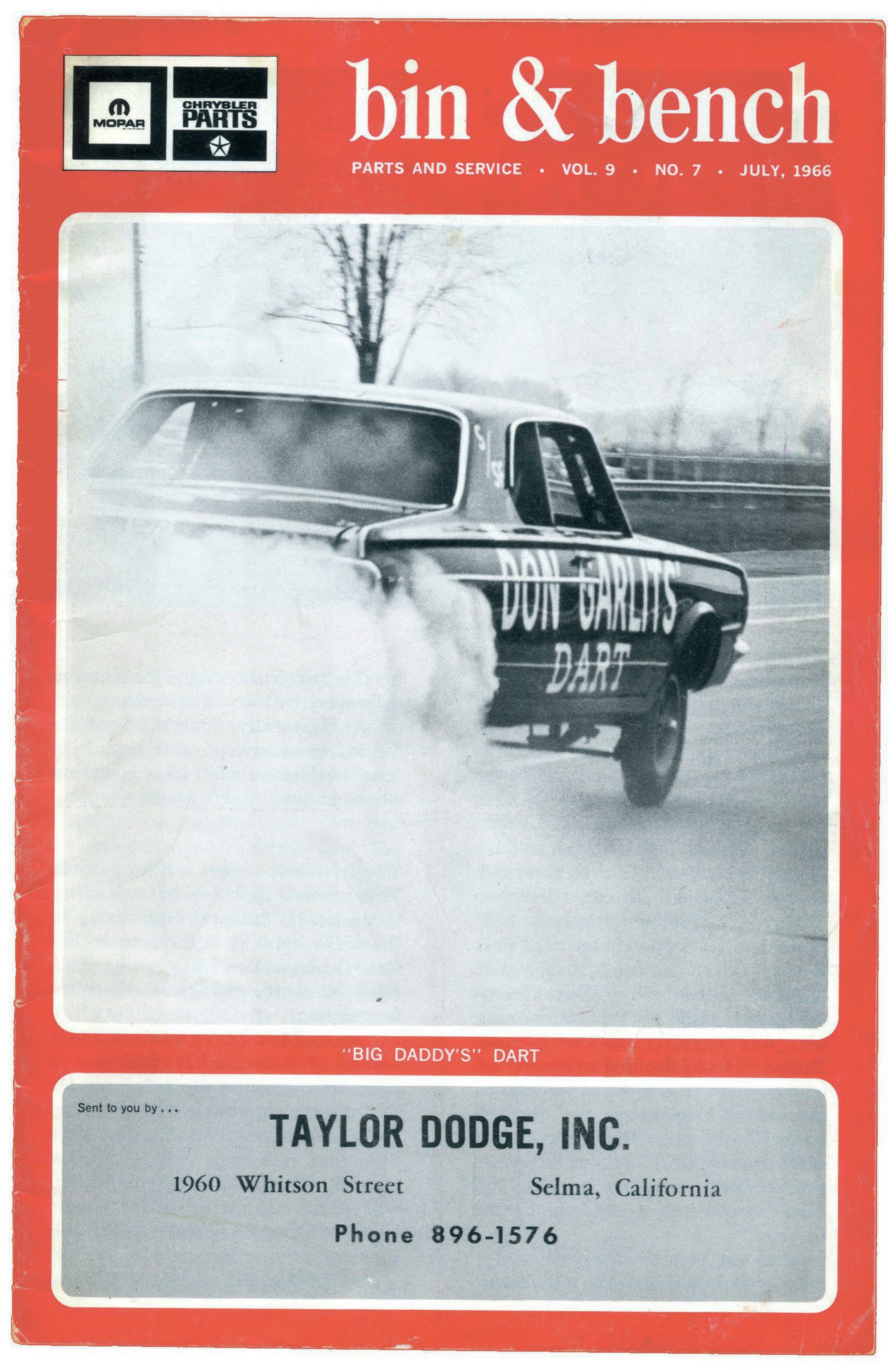"""This Mopar business magazine featured the ex–Howell-Branstner """"Garlits Dart"""" on the front cover of its July 1966 issue. That same month, Emory Cook wrecked it at Detroit Dragway."""