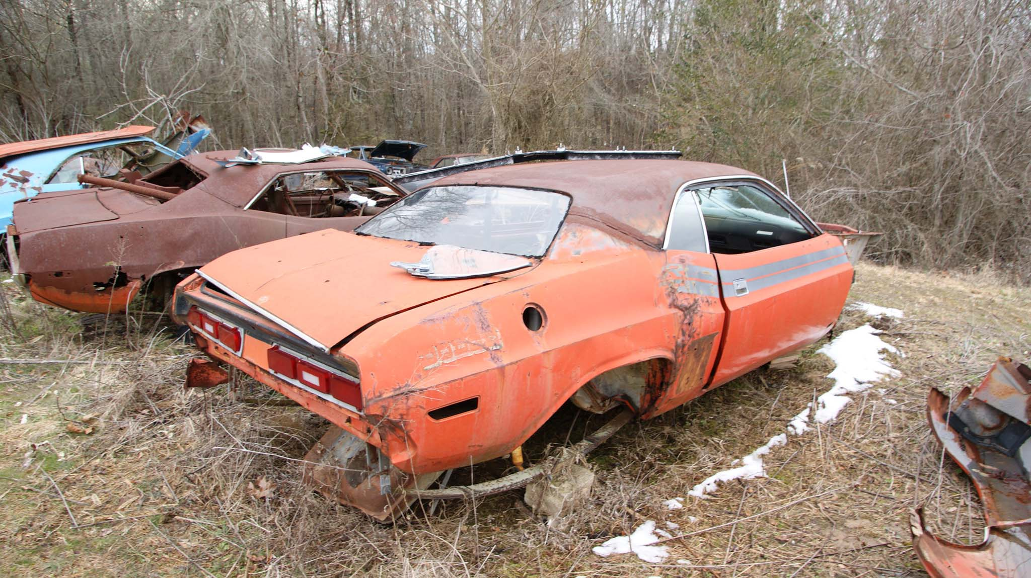 Most of this 1971 Challenger R/T is useable. The dash pad it still intact.