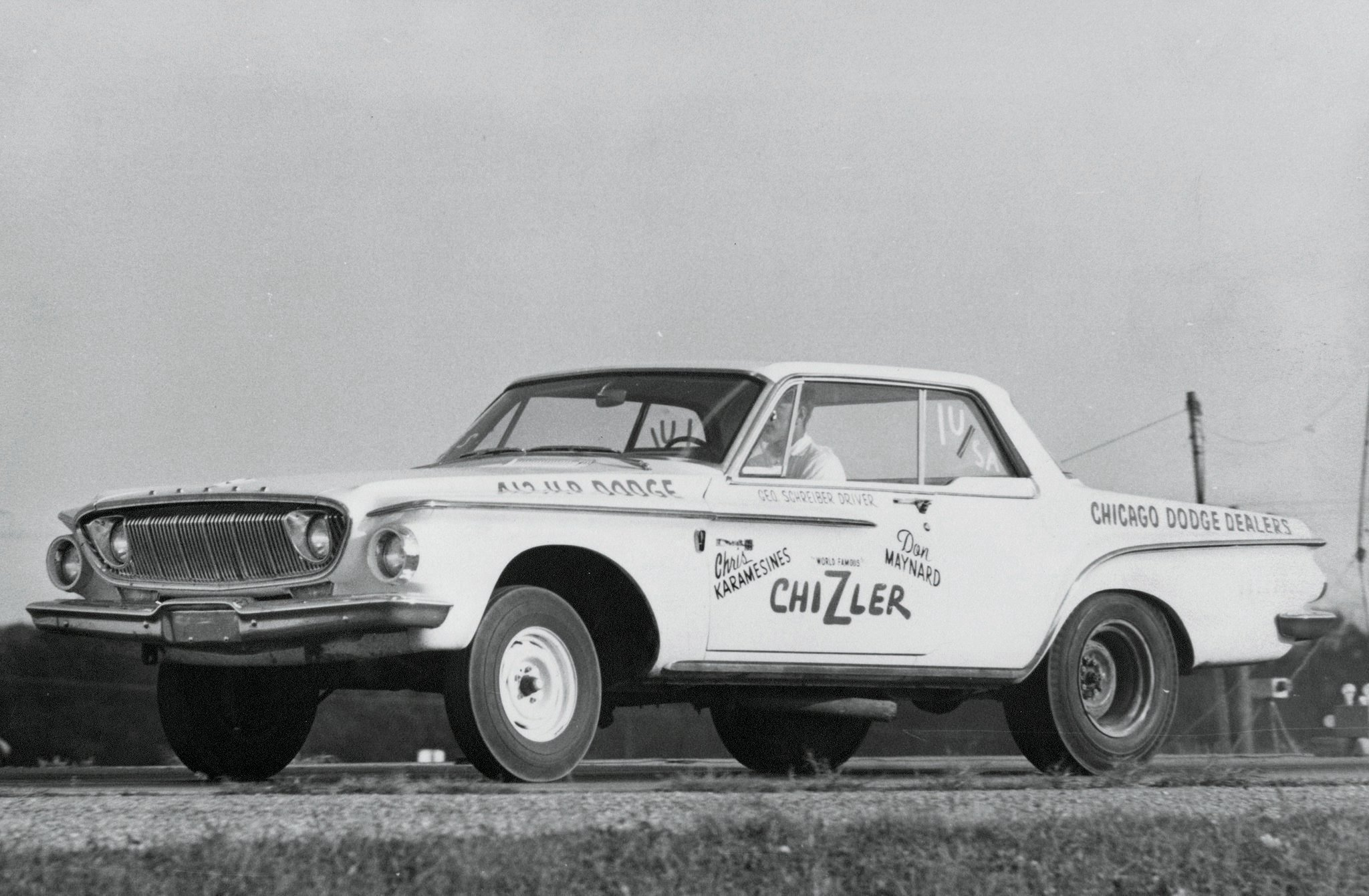 The Greek and Maynard put together a Super Stock Dodge for the 1962 season and match-raced it at Midwest events, where guys named Beswick and Minick were making door-slammer shows a drawing card. George Schreiber drove the car most often, but the Greek took a few turns behind the wheel as well.