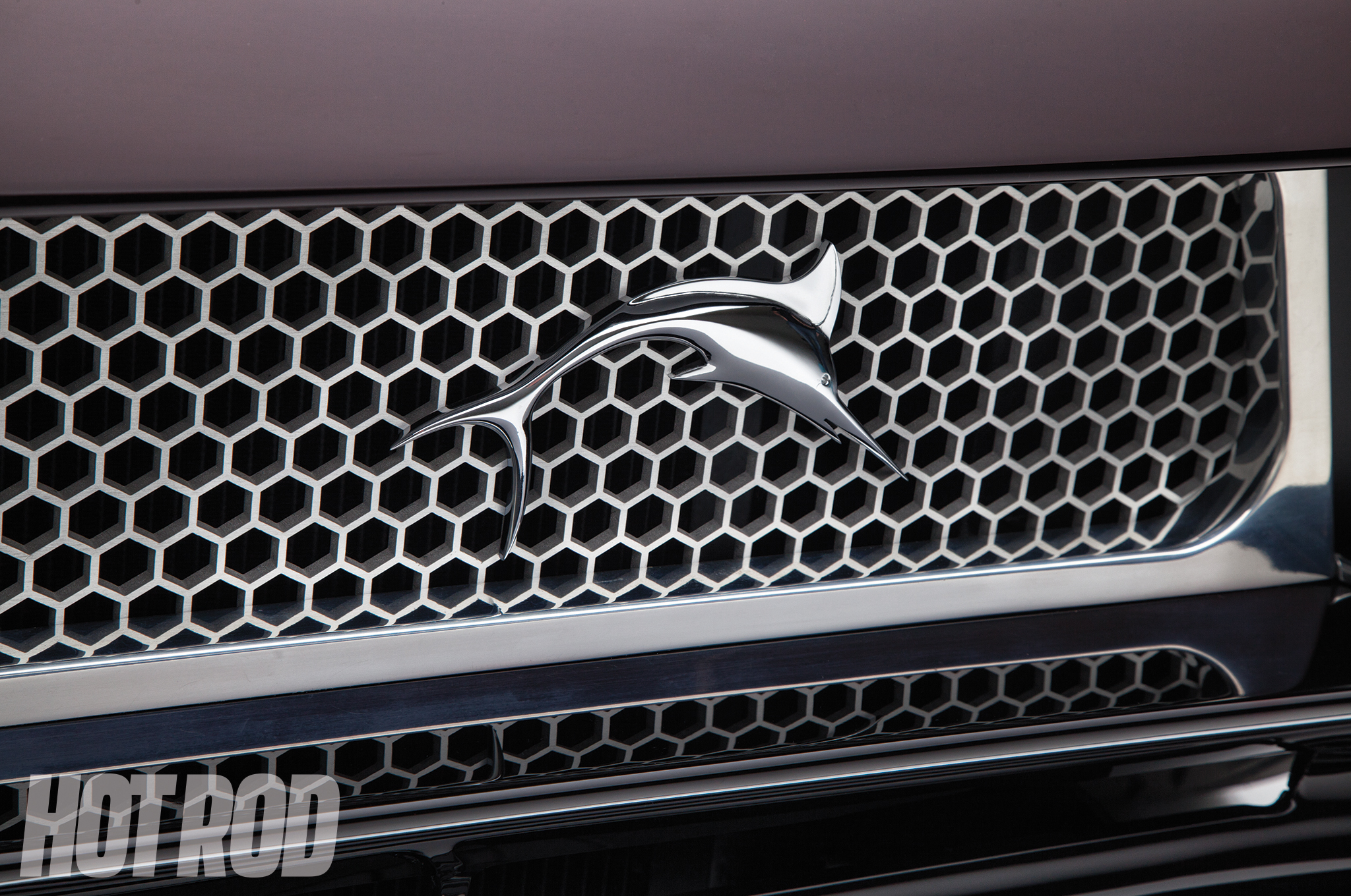 The honeycomb grille was CNC machined from aluminum.