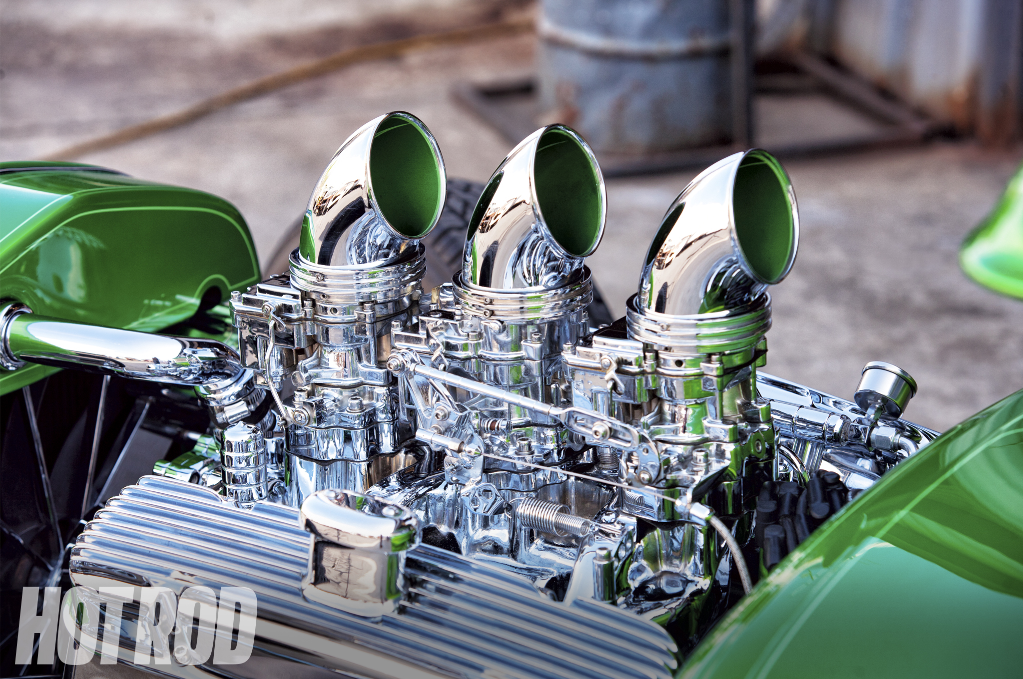 A trio of Rochester two-barrel carbs were rebuilt by Rick's Carburetor and mounted to an aluminum reproduction 1966 Tri-power manifold using 1-1/4-inch spacers. The air cleaners and linkages were built in-house at Super Rides.