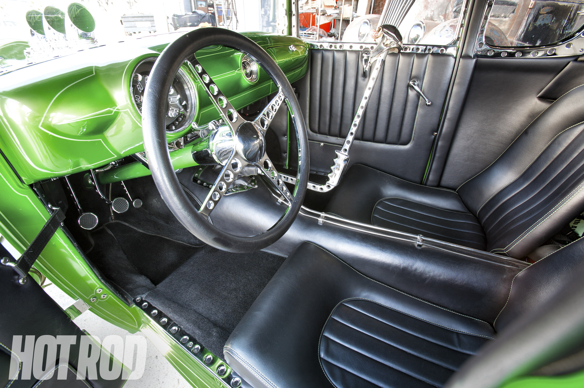 Jordan narrowed a 1950 Ford dash and converted the gauges to electric operation. All of the chrome trim was hand-fabricated.