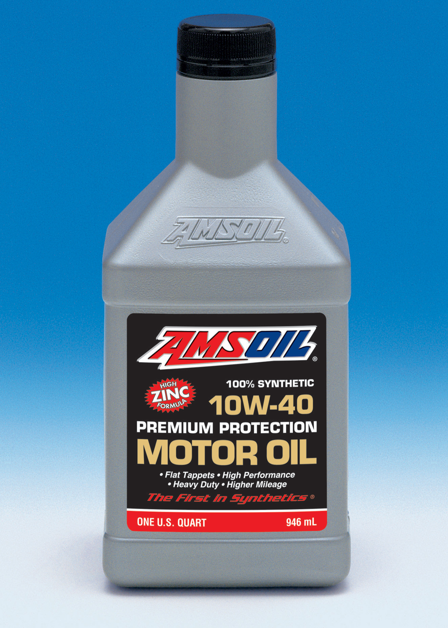 AMSOIL INC. Synthetic 10W-40 Premium Protection Motor Oil has a high zinc content is recommended for extended drain intervals in unmodified, mechanically sound vehicles.