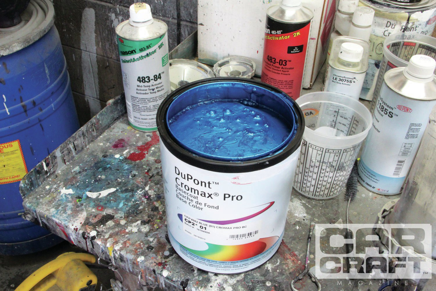 There are two ways to get a paint code. You can find the factory paint code using NOS chips off the Internet or use the batch number of a paint color that you like. The base blue is 1615499A.