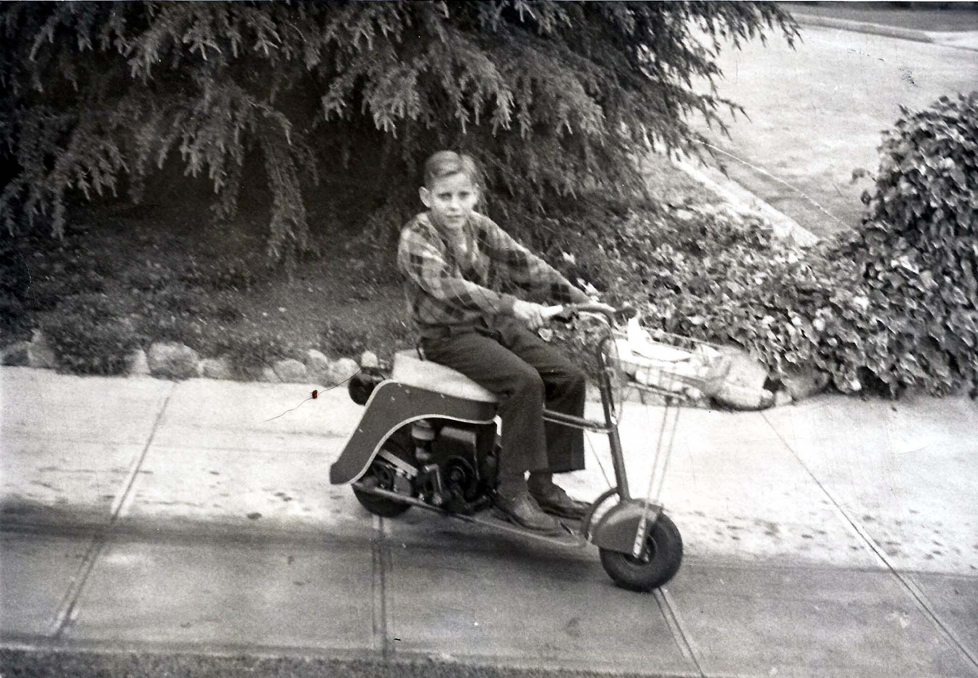 Skip Hedrich on his Kiawatha Doodlebug scooter at age 9, and standing proudly with his American Eagle streamliner on the salt. Could his 9-year-old self have imagined a racing career that would lead him to the 300 MPH Club?