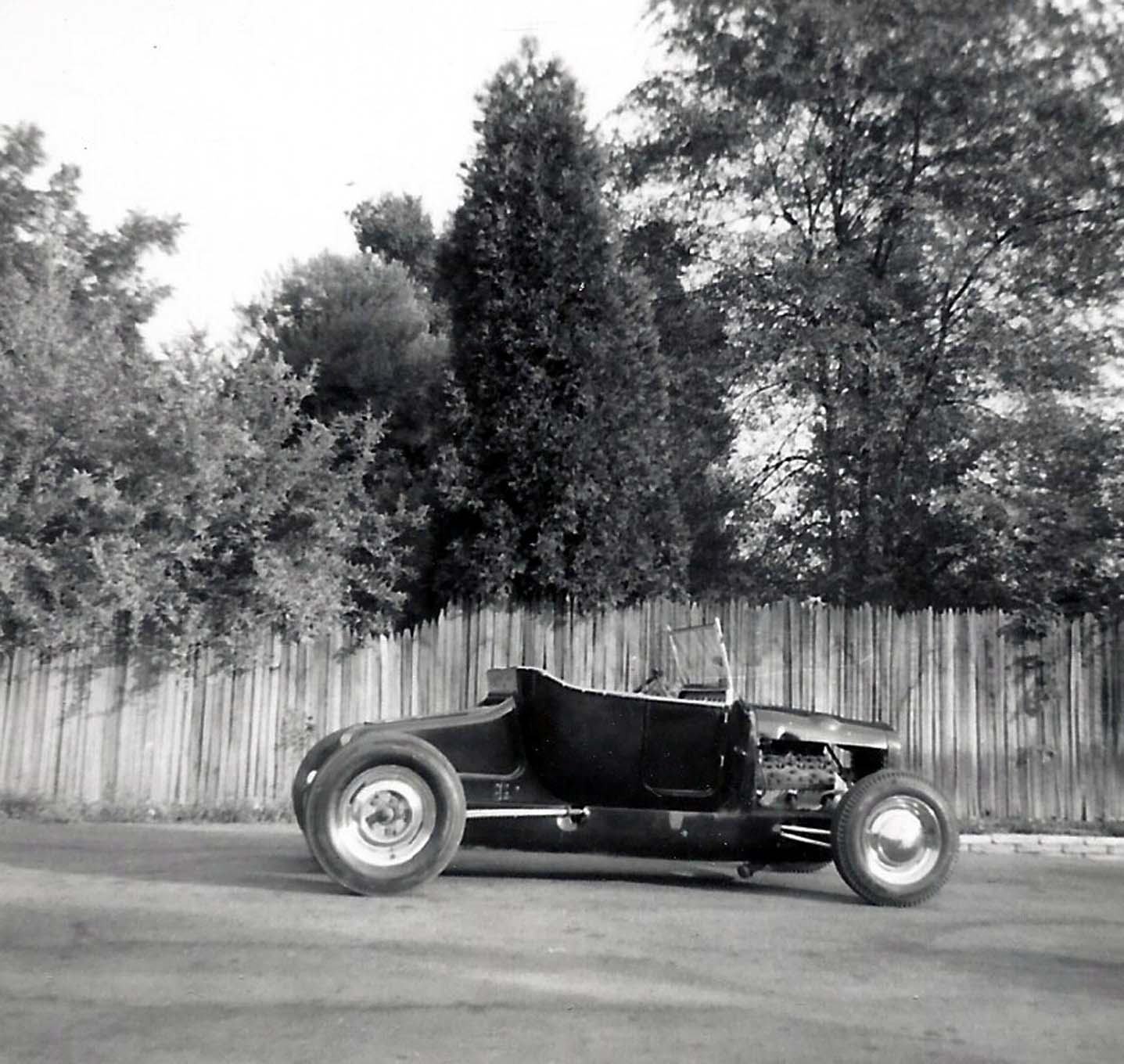 """Skip's finished Model T parked in front of his parent's house. The roadster caught the attention of Dean Batchelor, Hop Up magazine's editor, who wrote a feature on the car titled """"Terrific T V-8"""" for the January 1953 issue. Unfortunately, Skip wasn't given credit in the story for restoring the roadster, specifically the nose."""