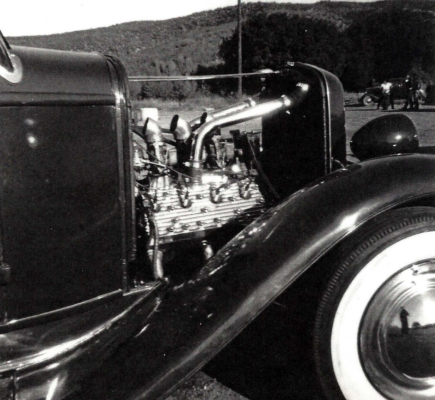 """Skip's 3/8ths by 3/8ths 296ci flathead had all the whips, whistles, and balloons: Weiand intake manifold, Navarro heads, and a Kong (Jackson) ignition. """"You could advance the ignition from inside the car,"""" Skip recalls."""