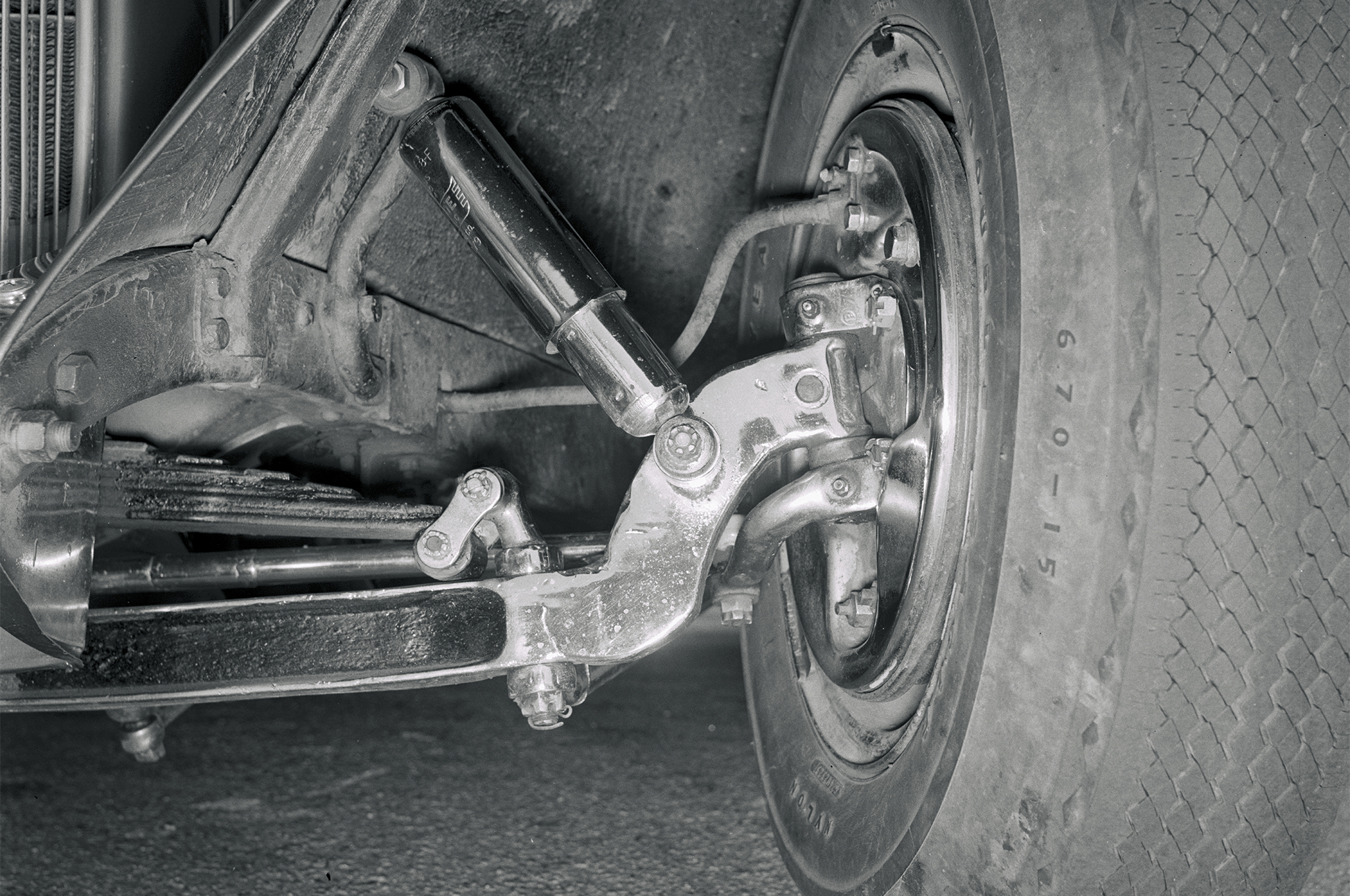 Breece built the car's front suspension using a 2-1/2-inch dropped '32 axle, a '32 spring, '40 Ford spindles, and Rambler shock absorbers.