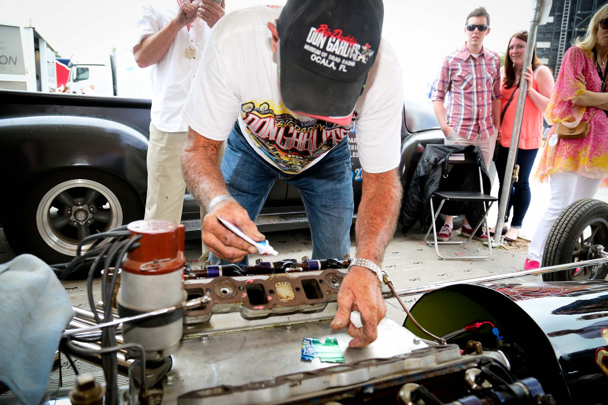Rather than call it done, Garlits closed off the damaged cylinder with soda can aluminum and denture glue, then went back out and smoked the tires.