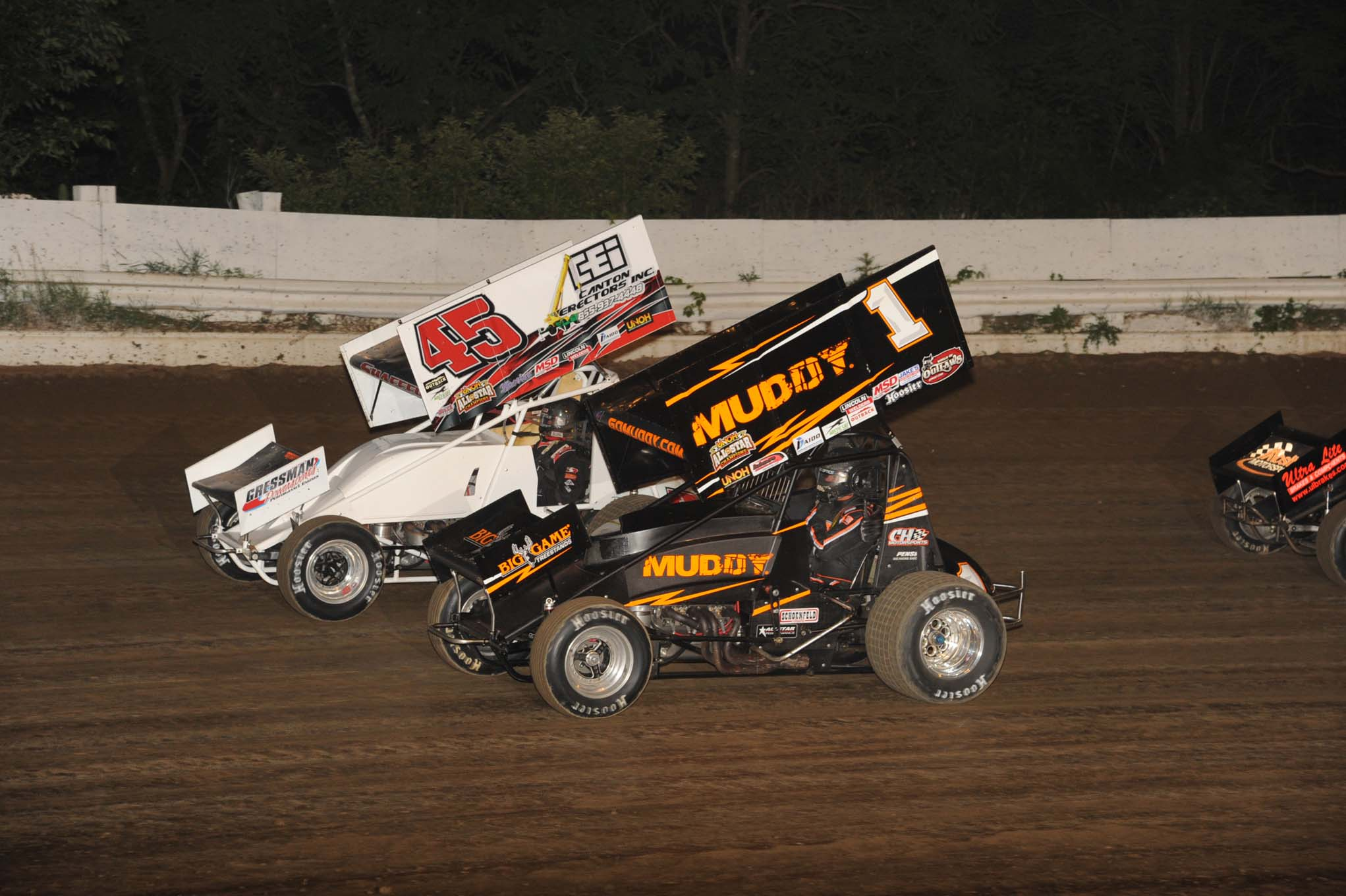 Tim Shaffer and five-time All-Star Sprint Champion Dale Blaney do battle at Pittsburgh's Pennsylvania Motor Speedway.