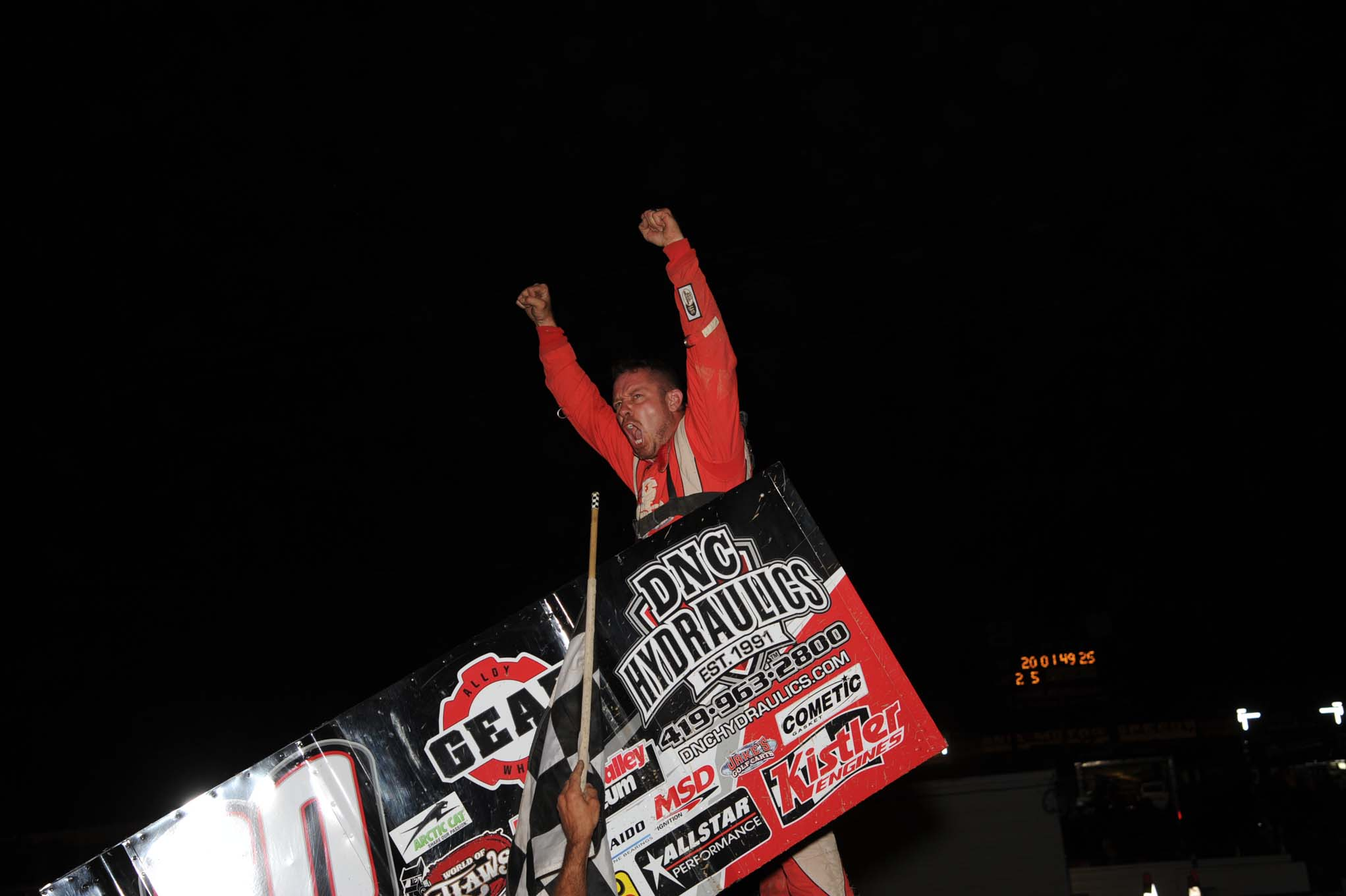 Greg Wilson (Benton Ridge, Ohio) celebrates a win at Pennsylvania Motor Speedway in June. It was his first All Star win in seven years.