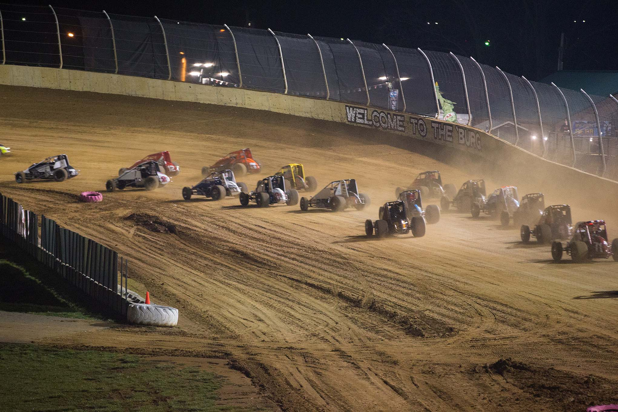 A strong car count on dirt gives footing for USAC. This is the start of the B Main at Lawrenceburg.