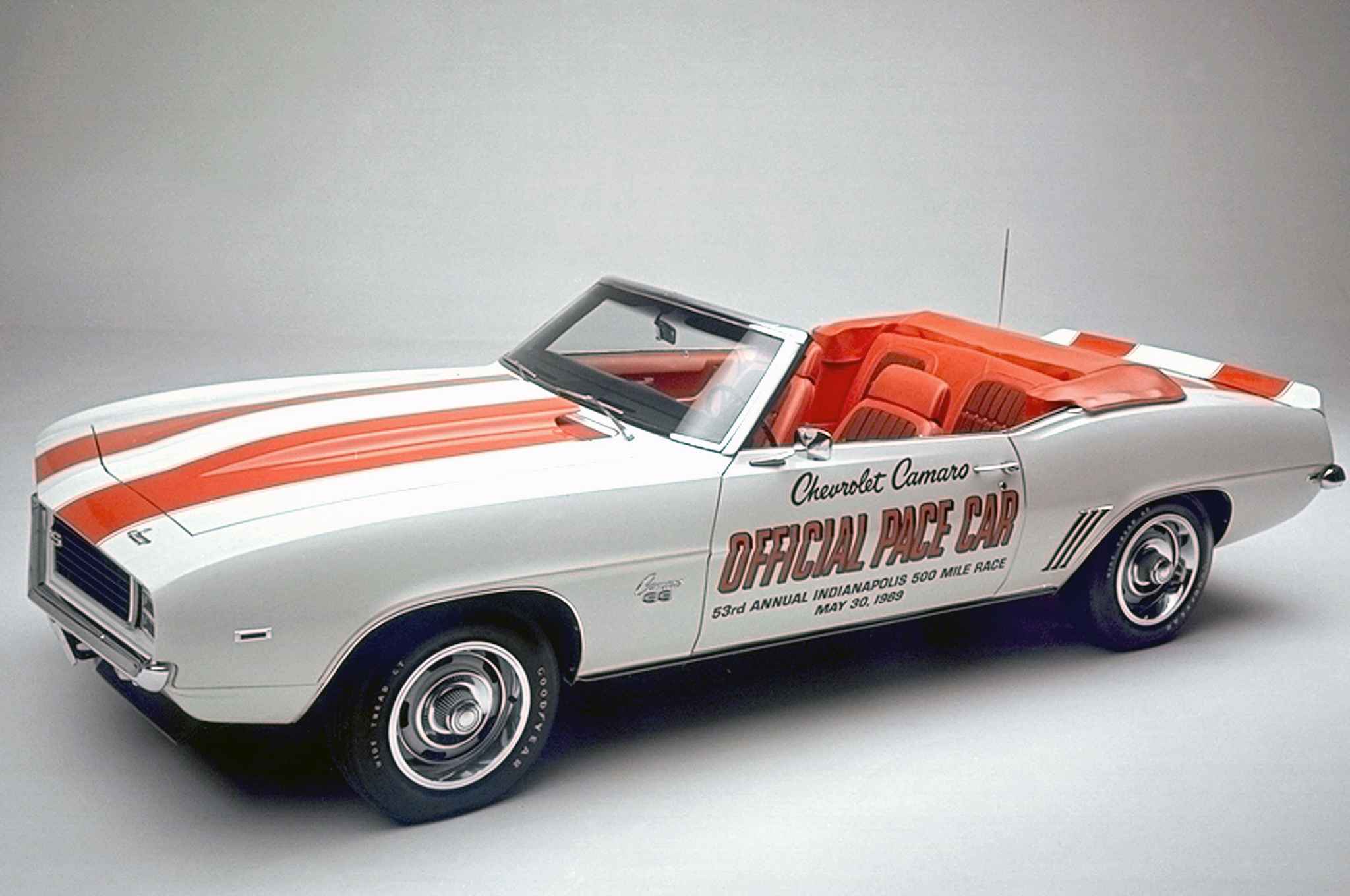 Chevrolet built 3,675 convertible replicas of the 1969 Camaro Indy Pace Car, some with 350 engines and others with the 396. All wore Hugger Orange stripes and interior trim. It would be the final year for Camaro convertibles for more than 15 years.