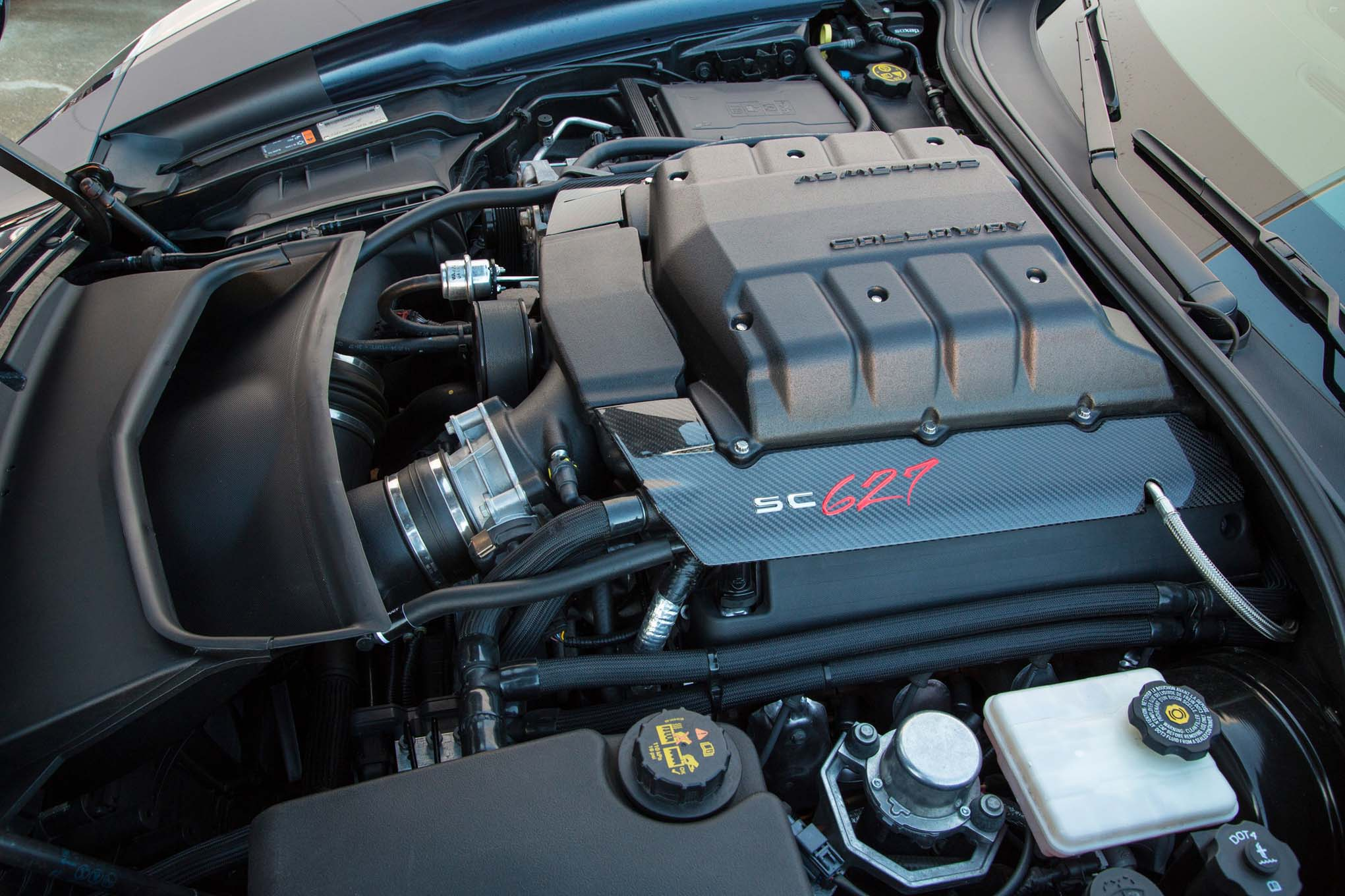 In order to package it under a flat hood, Chevrolet had to go with a relatively small blower on the Z06. Callaway was under no such obligations, so the Stingray boasts an Eaton TVS–based 2,300cc supercharger, with a three-intercooler design that Pete Callaway says results in air-inlet temperatures that change less than 10 degrees during heavy use, considerably less than the average supercharged car.