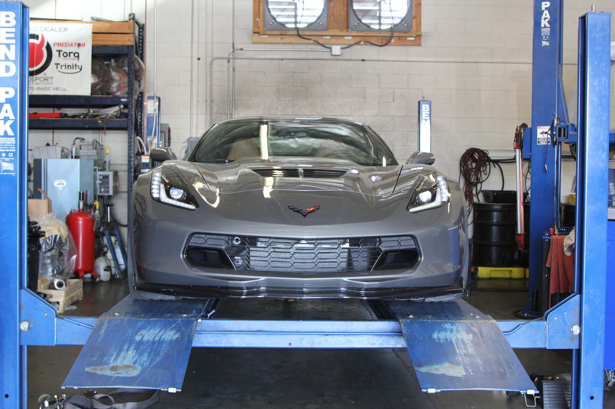Dyno runs in new cars are tricky, requiring a thorough knowledge of the various modes and traction nannies—so you can turn them all off. Eddie Rios at Addiction Motorsports put the Z06 in Track mode, then held the traction-control button for 10 seconds until all the Performance Traction Management (PTM) was off. Then he revved it up and recorded 570hp at the rear wheels..