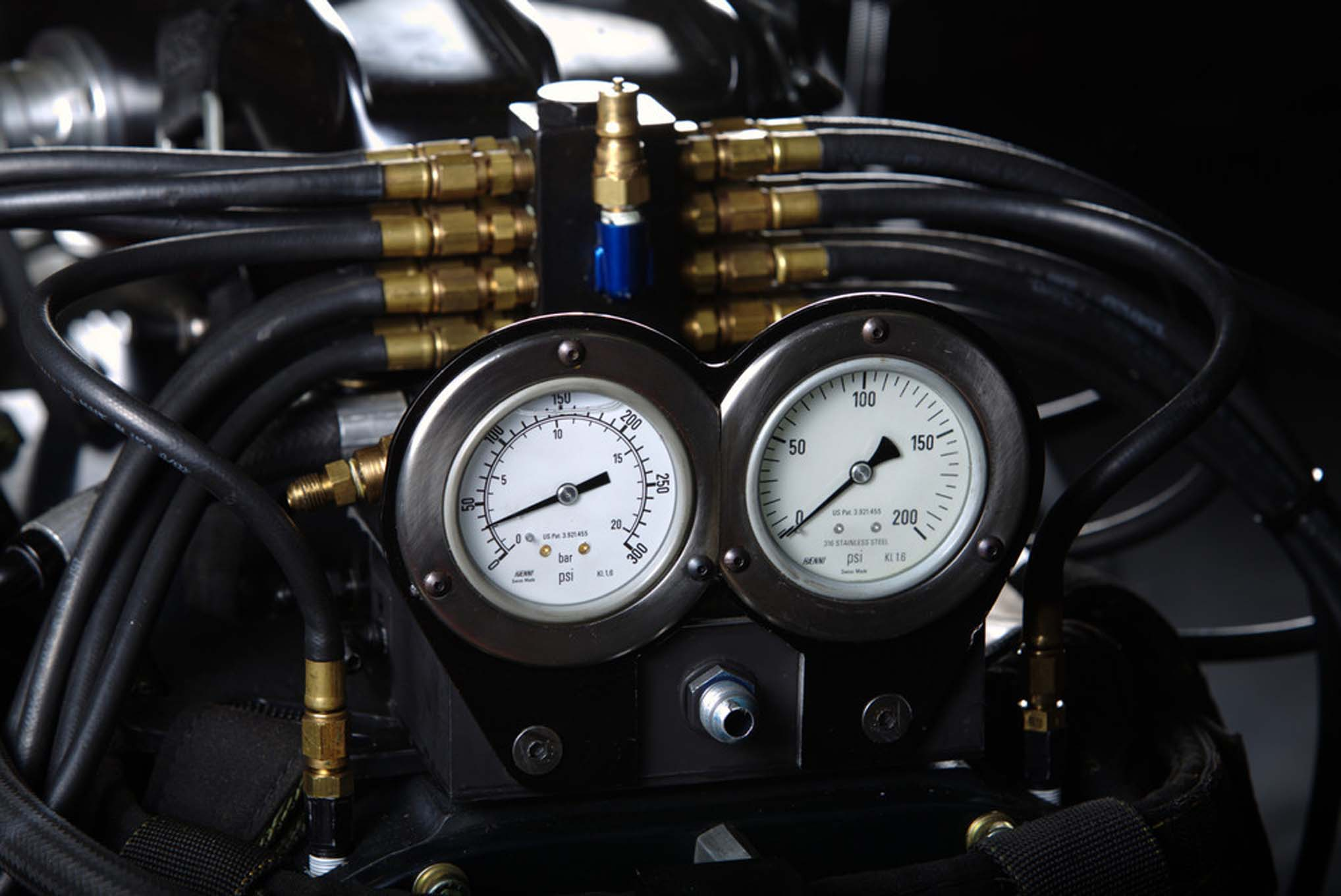 There are 24 lines for fuel injectors: eight injectors for idle, then 16 injectors for the hit—with eight going into each cylinder and eight into the blower dumping supercharged fuel into the engine, but also cooling down the supercharger in the process.