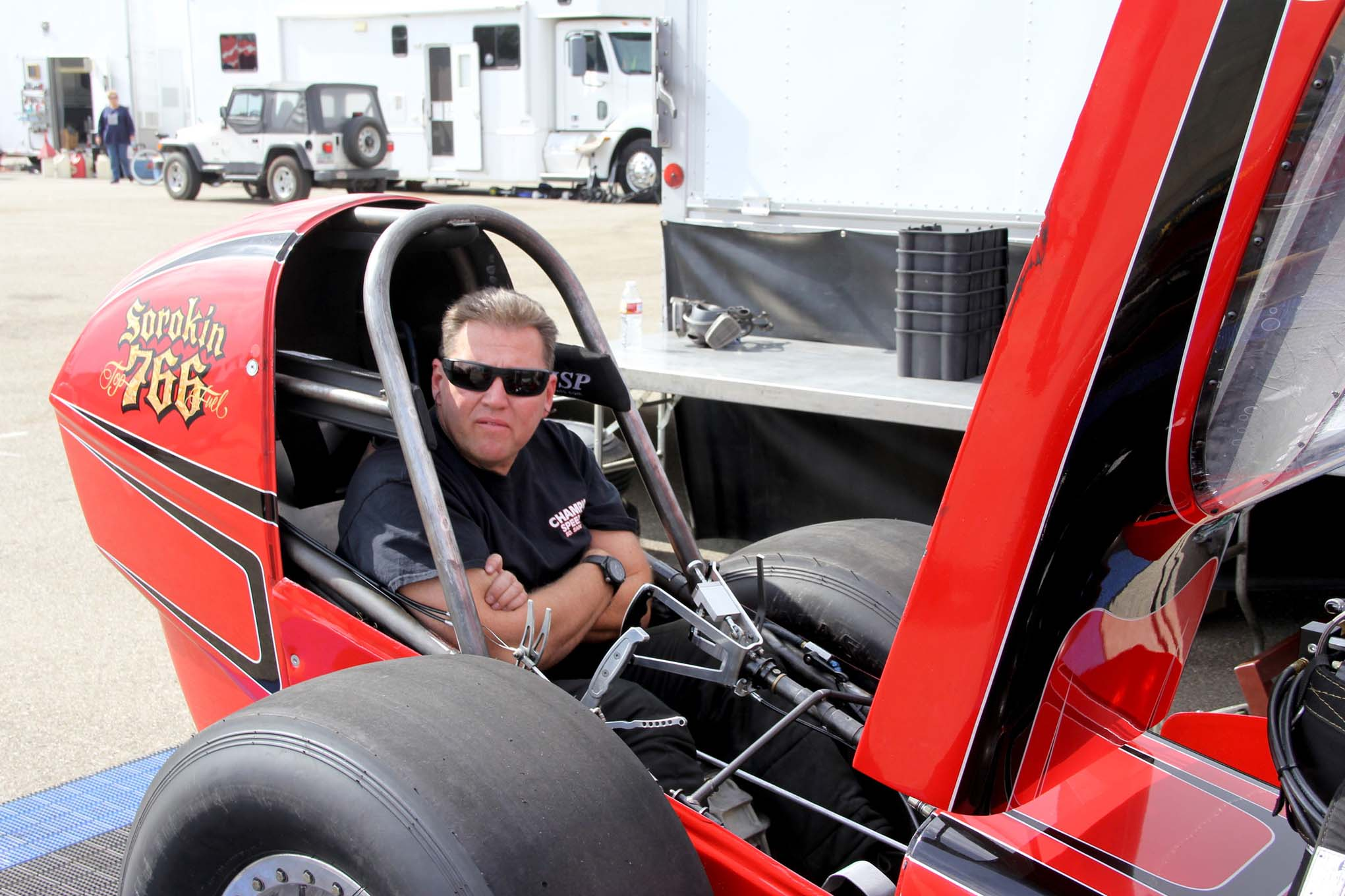Adam Sorokin anxiously awaits the next round of Nostalgia Top Fuel. Having won the championship twice, he knows what it feels like and wants it even more now that it has been three years since last winning.