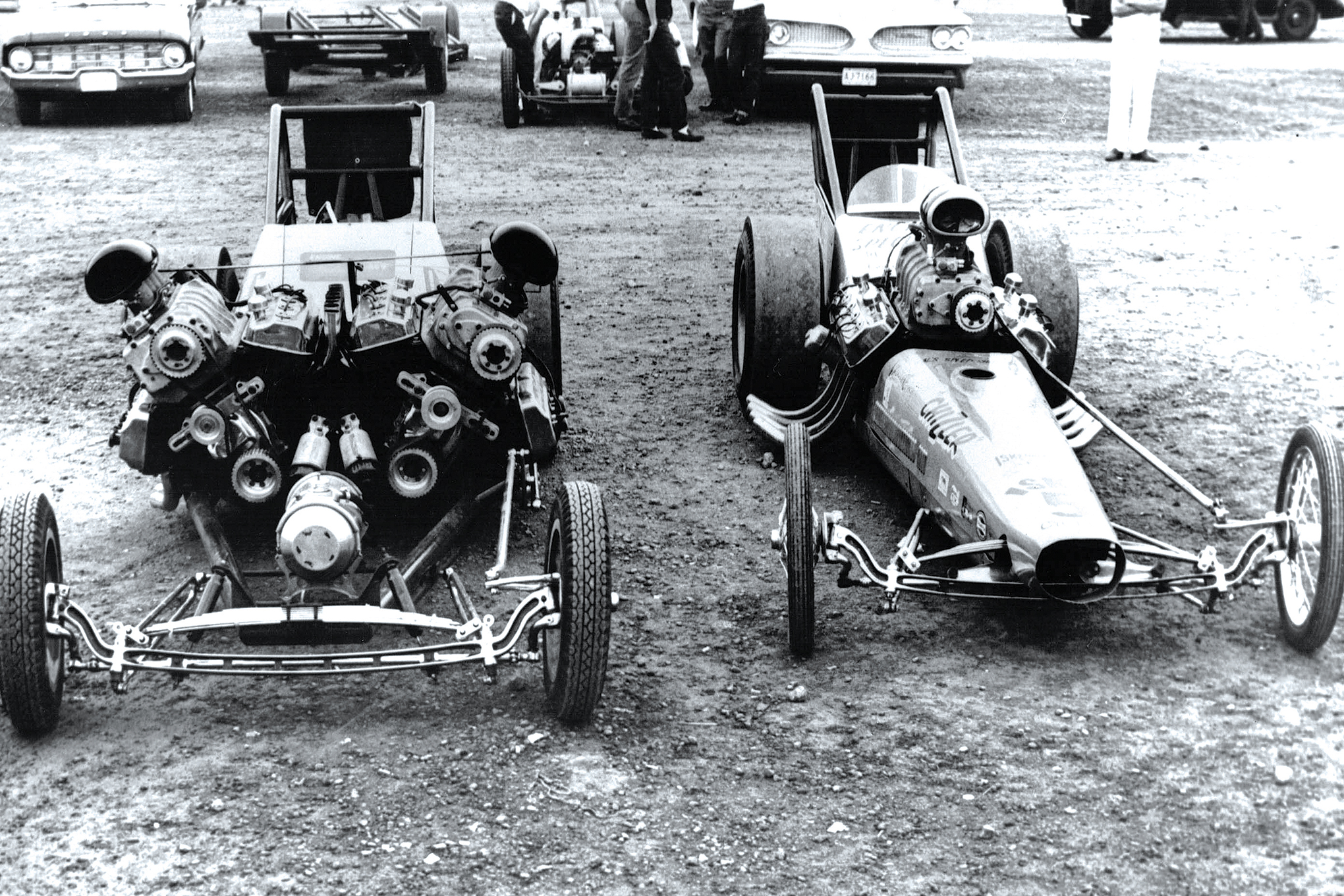 Chris Karamesines tried Chizler I, a short-wheelbase, opposed-engine car. Here, it's in the Alton pits along with his 204-mph single-engine digger, Chizler II. According to Karamesines in a 1999 interview, the car just had too much power and they were never able to make it hook. The engines and parts of the drivetrain sat in The Greek's Chicago shop for almost 40 years before recently undergoing restoration with the help of Dale Armstrong.