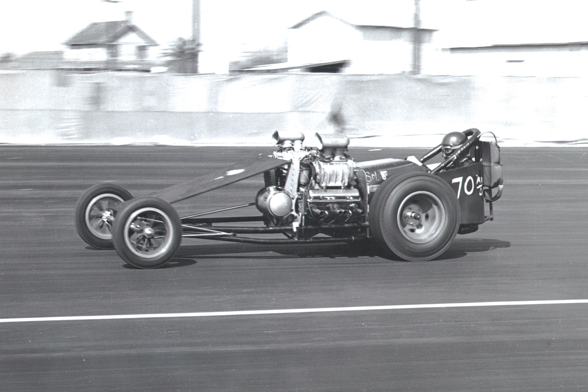After Glen Ward crashed Howard Johansen's Twin Bears car at Amarillo Dragway in 1962, it was Jack Chrisman who got behind the torque. This opposed-twin version featured bored-and-stroked 283 small-blocks with 4-71 blowers and Hilborn injectors. Chrisman won the 1960 Winternationals in this car, running a best of 8.00/170.