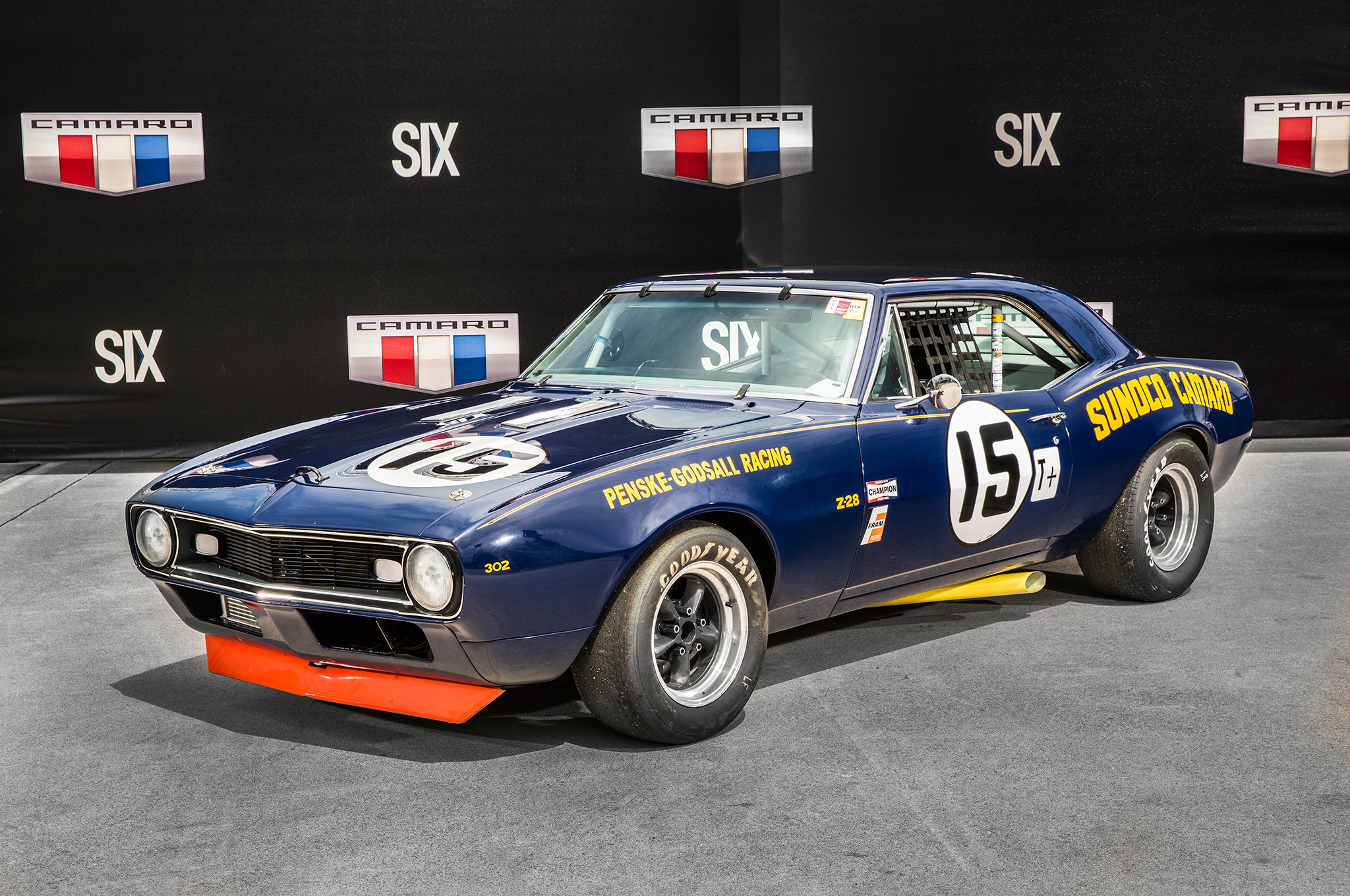 After an inauspicious start with the 1967 Camaro, the Penske racing team experimented with a lightweight body using acid-dipped sheetmetal. It worked, and the car was updated with 1968 Camaro body components in an effort to field two cars at the Sebring 12-hour race that year. This car, owned by Patrick Ryan, has been restored to its 1968 Sebring appearance, where it won the Trans-Am class and finished Third overall.