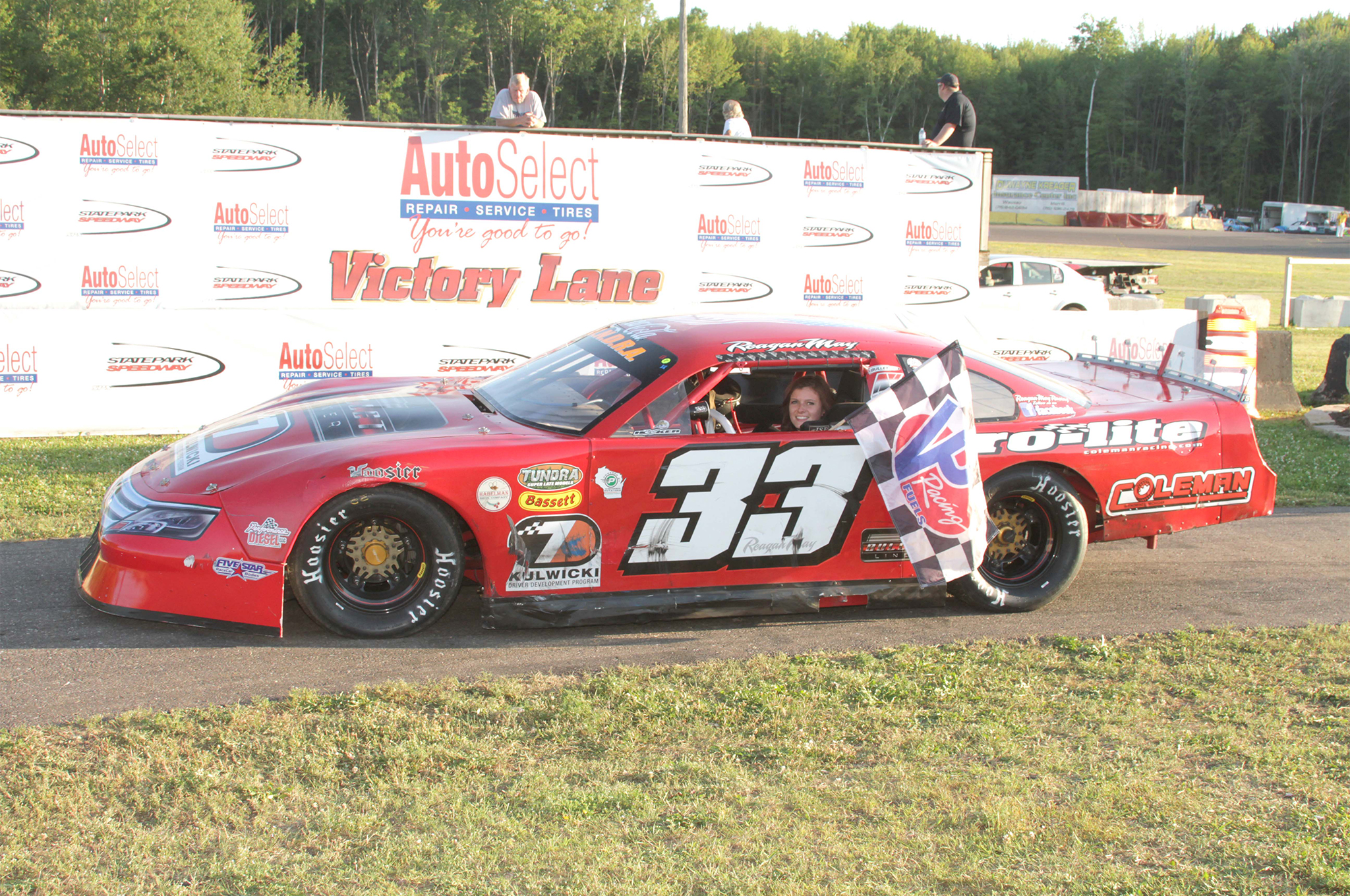 Reagan pulling into a very familiar place in 2015, victory lane. This time it's at State Park Speedway.
