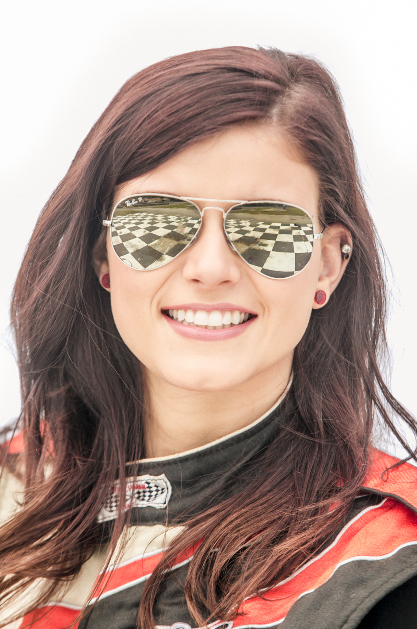 Reagan May's mirrored Ray Bans tell the story of the prize this 21-year-old Wisconsin racer has her sights set on.