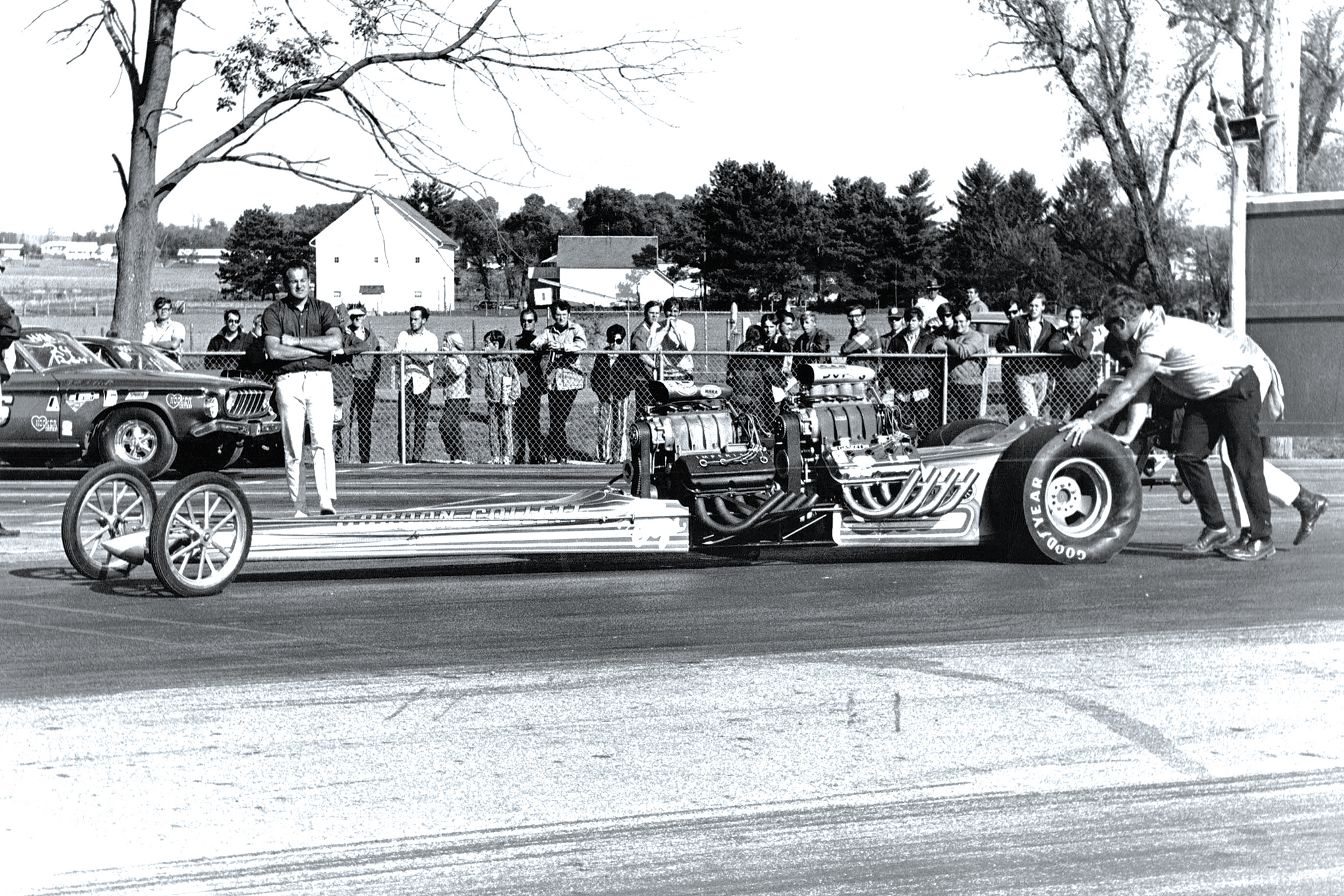 As far as we know, the only woman to drive one of these beasts (in this case, Gordon Collett's tandem car) was none other than Shirley Muldowney. She did so at the infamous Union Grove Dragway just north of downtown Chicago.