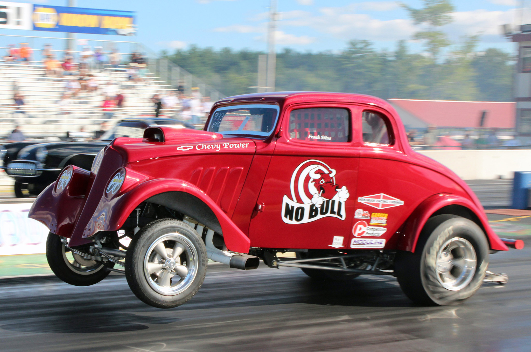 Frank Silva won the Gasser class with an off-the-throttle 10.261 at just 104.62 mph in this Chevy-powered Willys after his opponent redlighted in the finals.