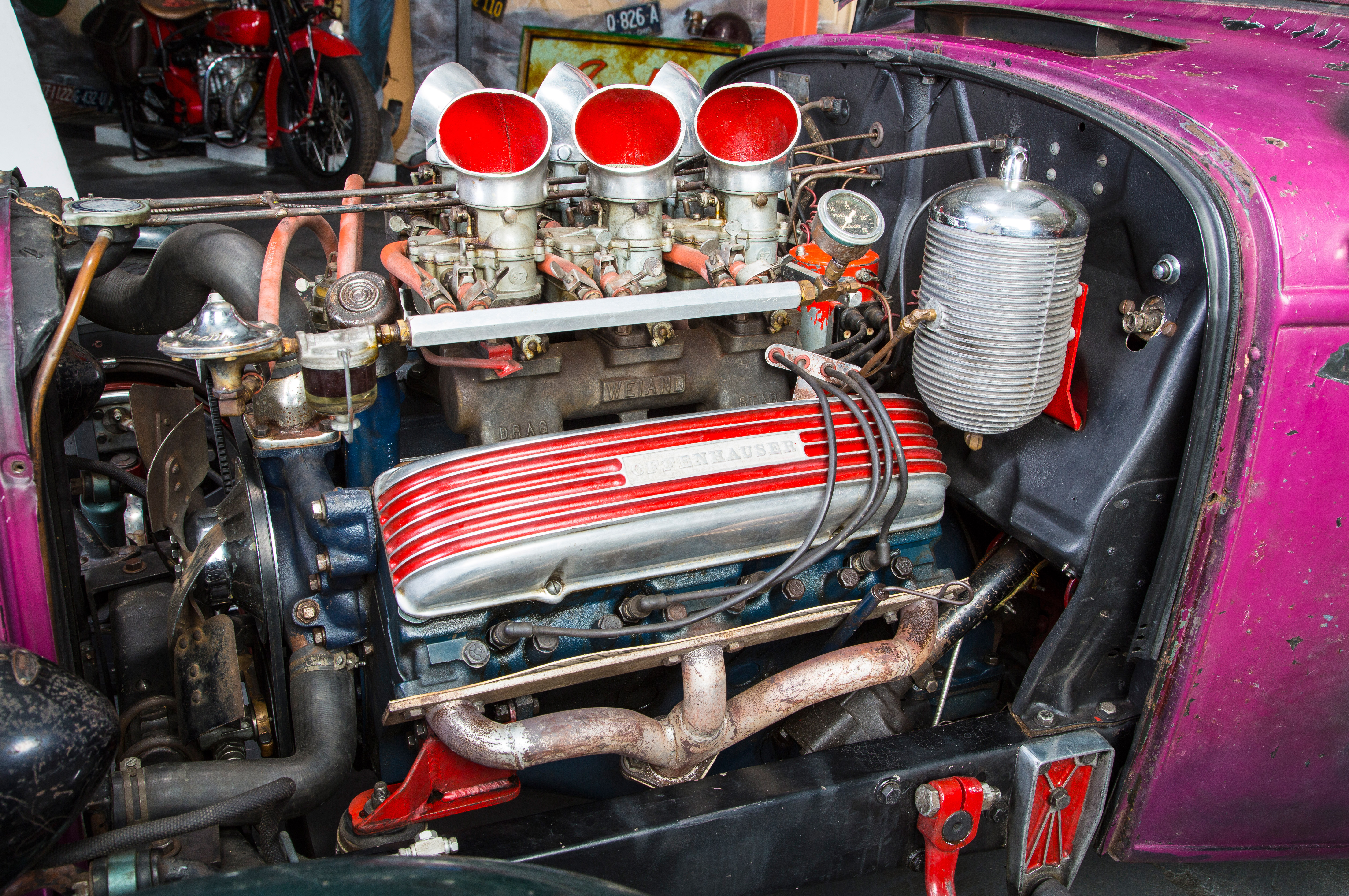 Cadillacs were Bill's engine of choice in the day, and there's a Caddy in it again, a 331-inch '49 mill running a Weiand Drag Star manifold, six Strombergs, and Belond headers.