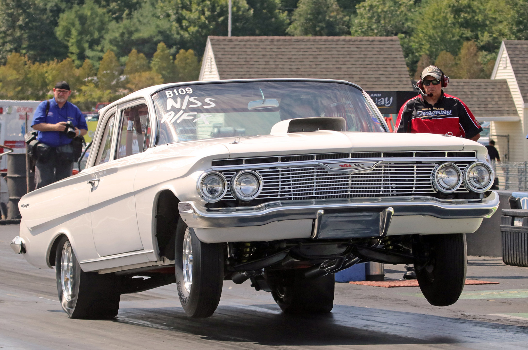 Brian Lombard was low qualifier in Nostalgia Super Stock with this 409-powered 1961 Biscayne, which posted a 9.42 e.t. at 139+ mph.