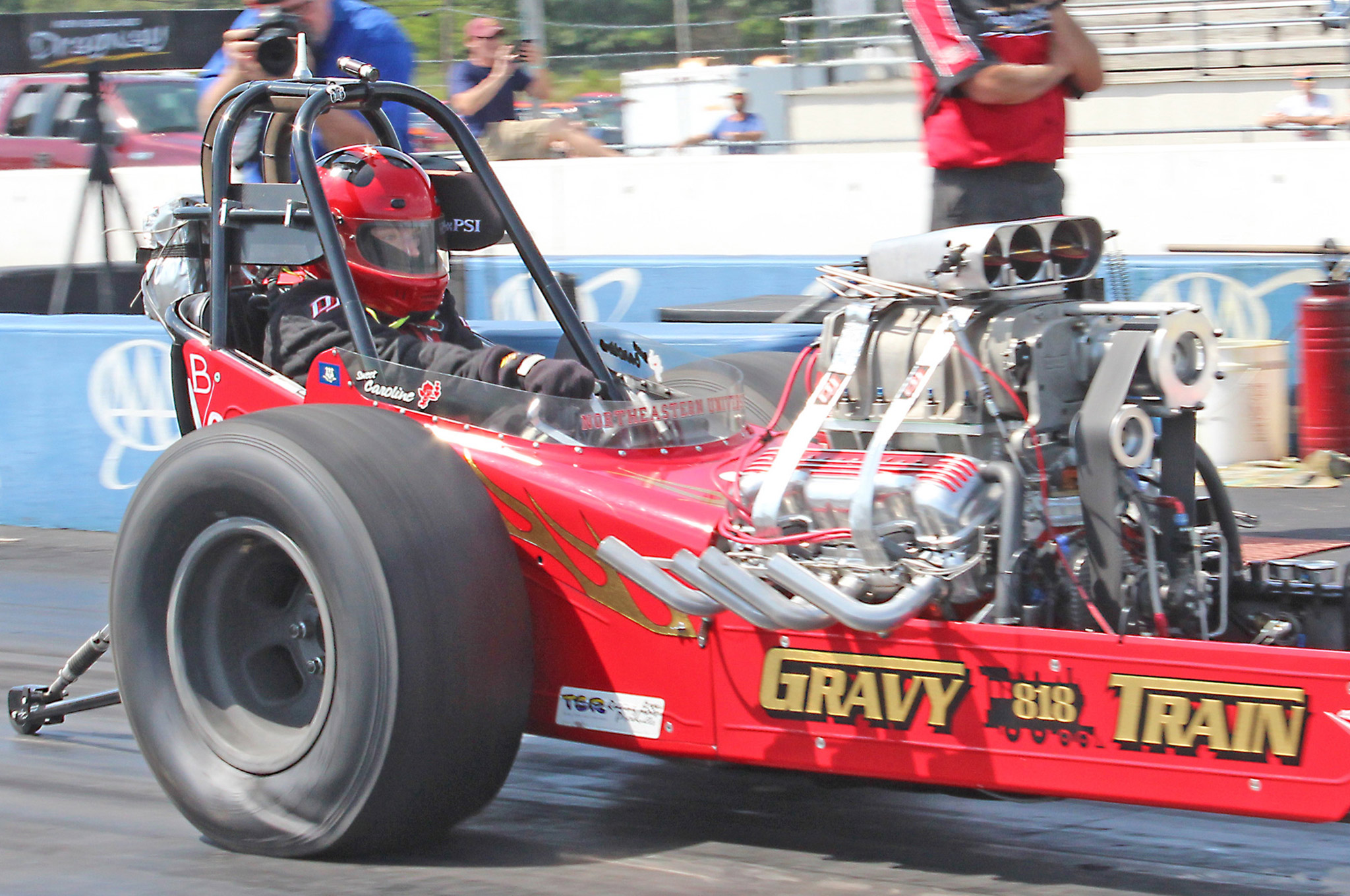 Caroline Galvin of Danbury, Connecticut, ran this unique 409-powered front engine dragster when she ran an 8.517 on an 8.50 index in Comp Eliminator.