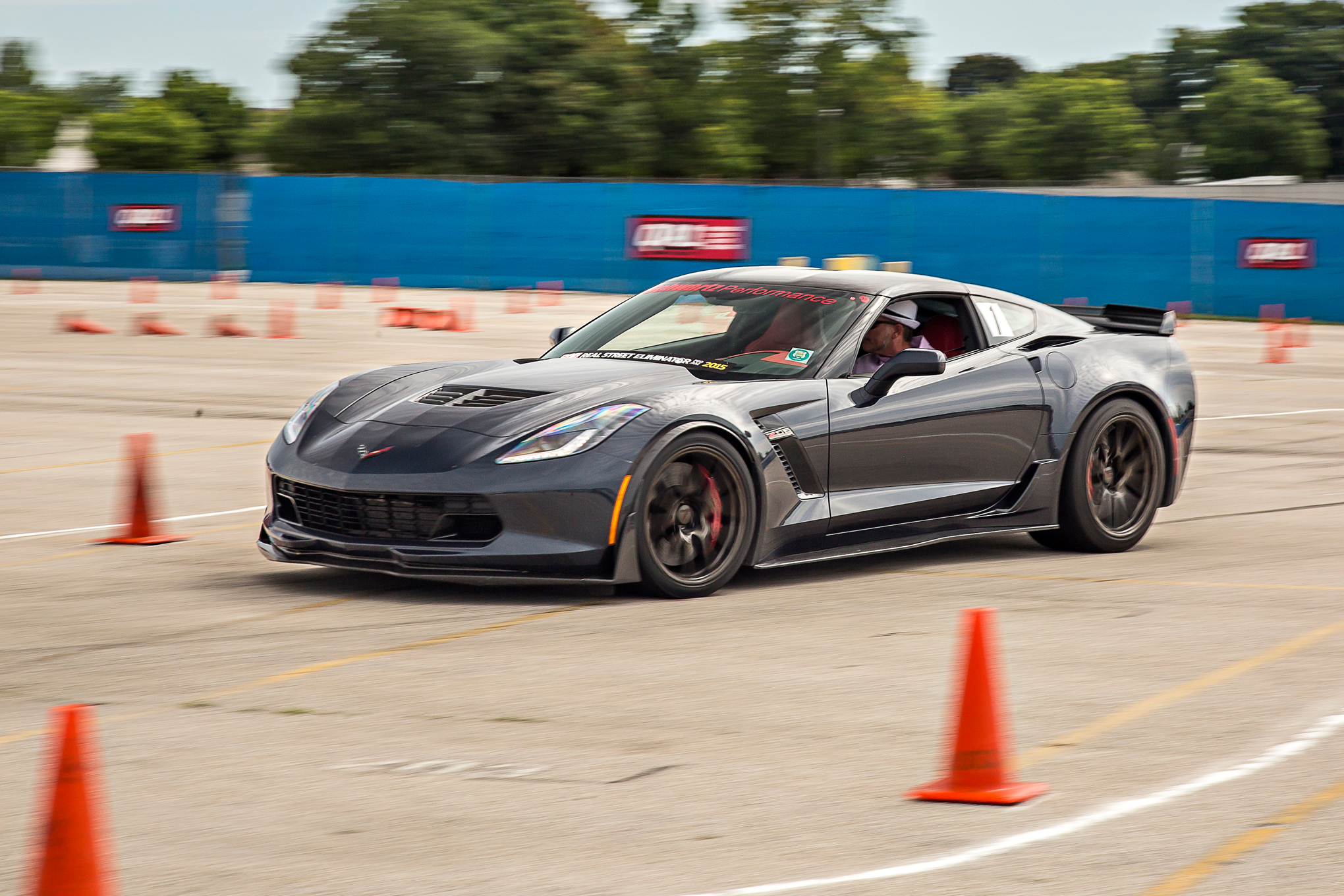 The 2016 Z06 Corvette of Jeff Schwartz cleaned house on the autocross course, scouring the weekend's lowest time of 30.183-seconds.