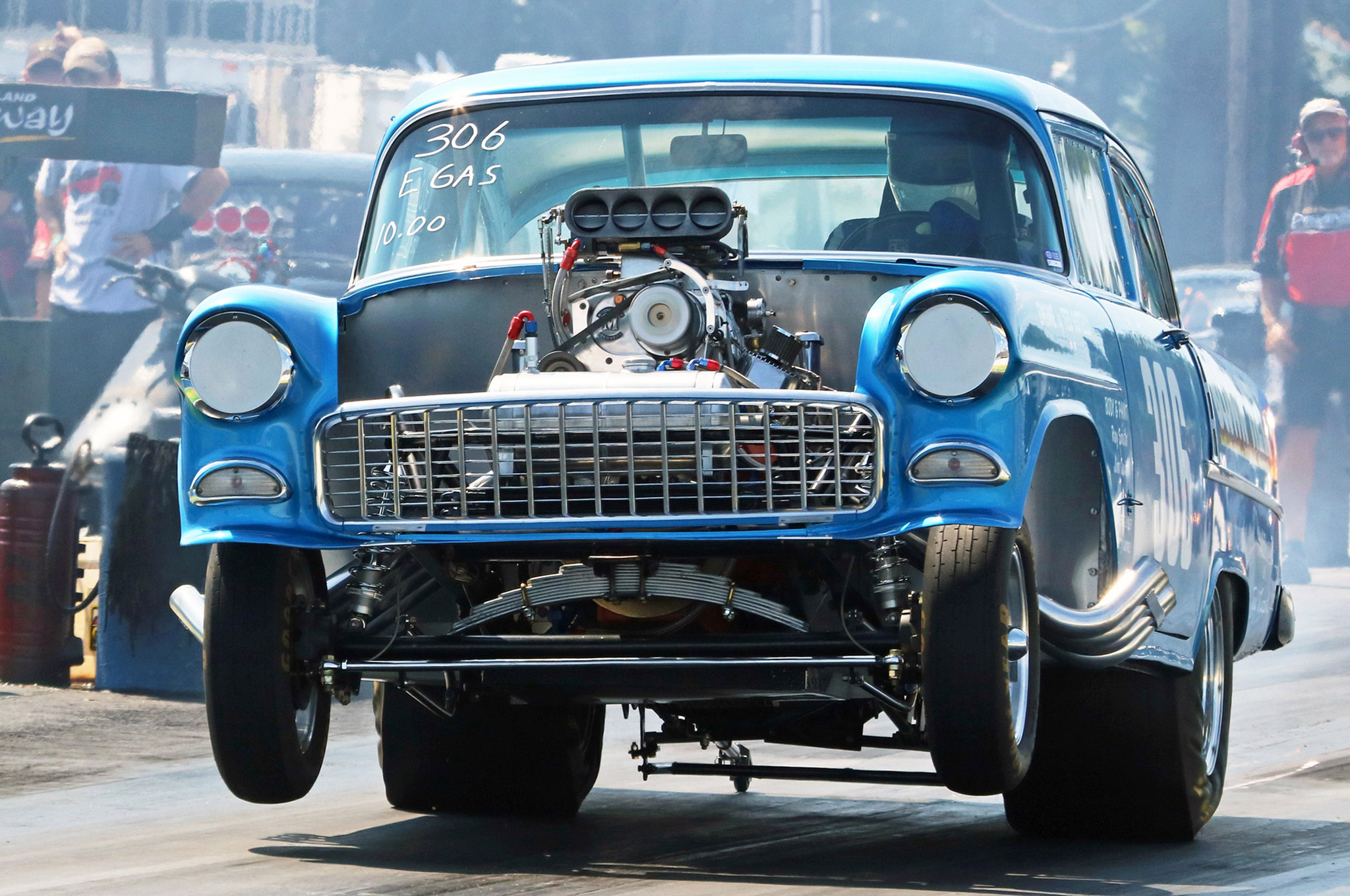 This wild, blown altered wheelbase 1955 Chevy was in Gasser competition at the New England Hot Rod Reunion where it ran a 9.16 e.t. during qualifications on Saturday.