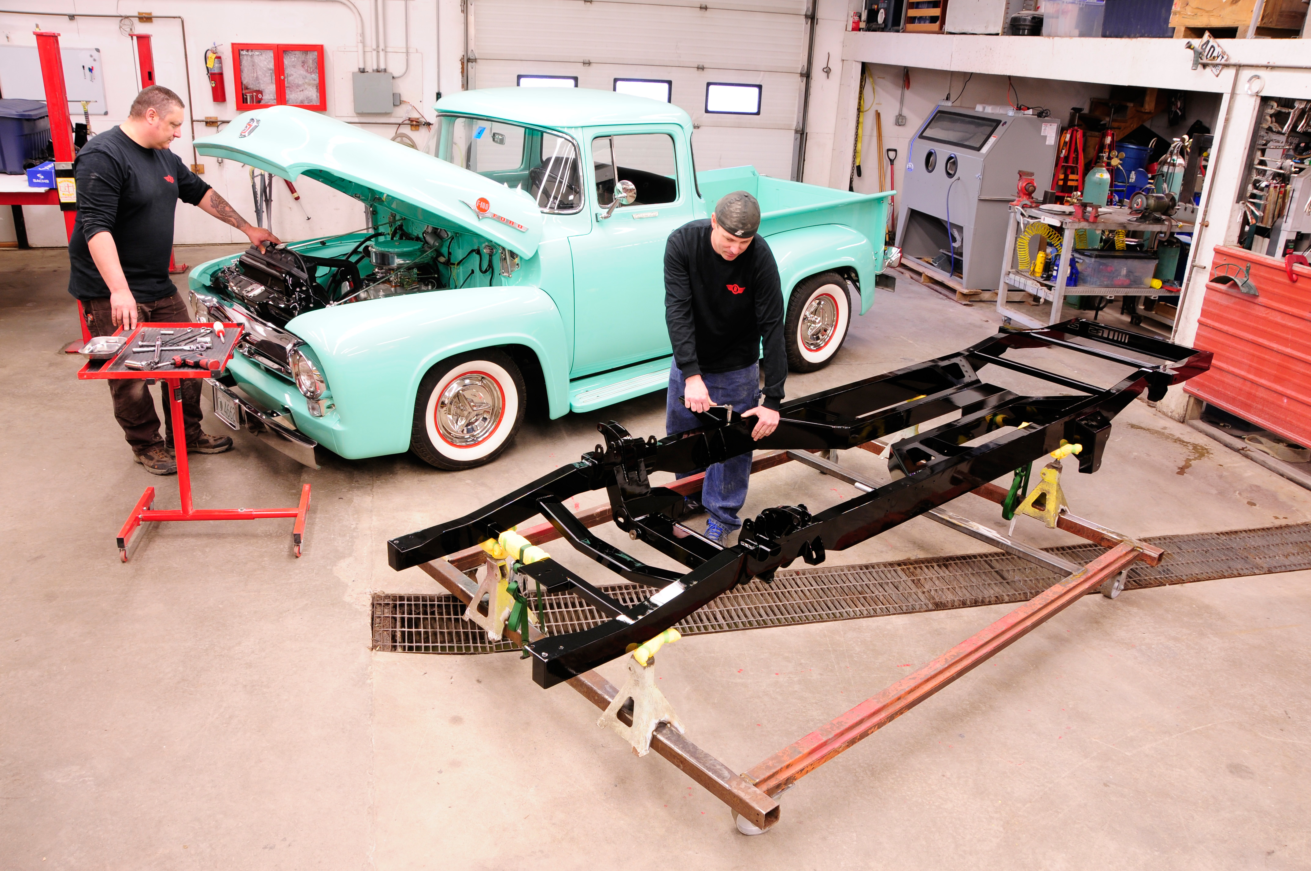 Swapping A Modern Chassis Under Vintage Ford Hot Rod Network 1949 Chevy Truck Frame Swap