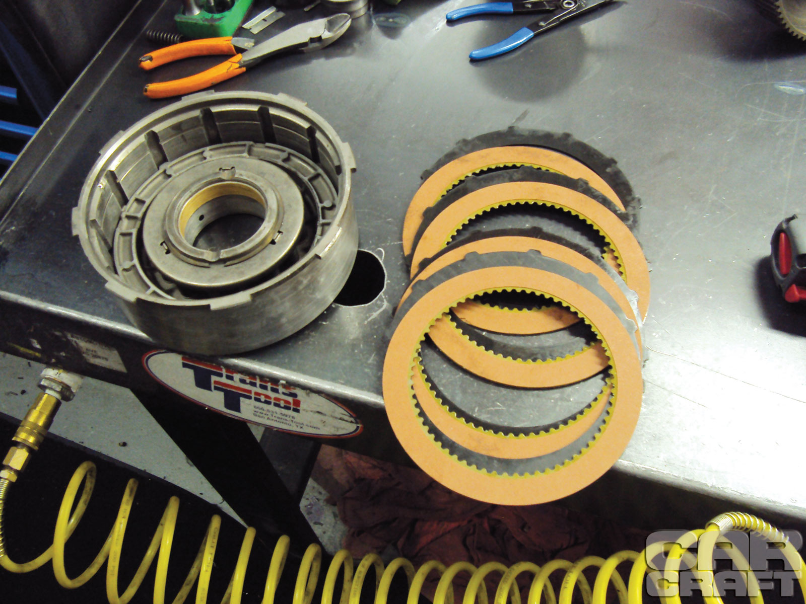 This is the high-gear drum. It contains the clutches and steels that are upgraded for additional longevity. The clutches use a heat-resistant friction material from Alto that reduces the amount of slip during each shift, therefore reducing heat and wear. In High gear, all these clutches and steel are under load and producing heat.