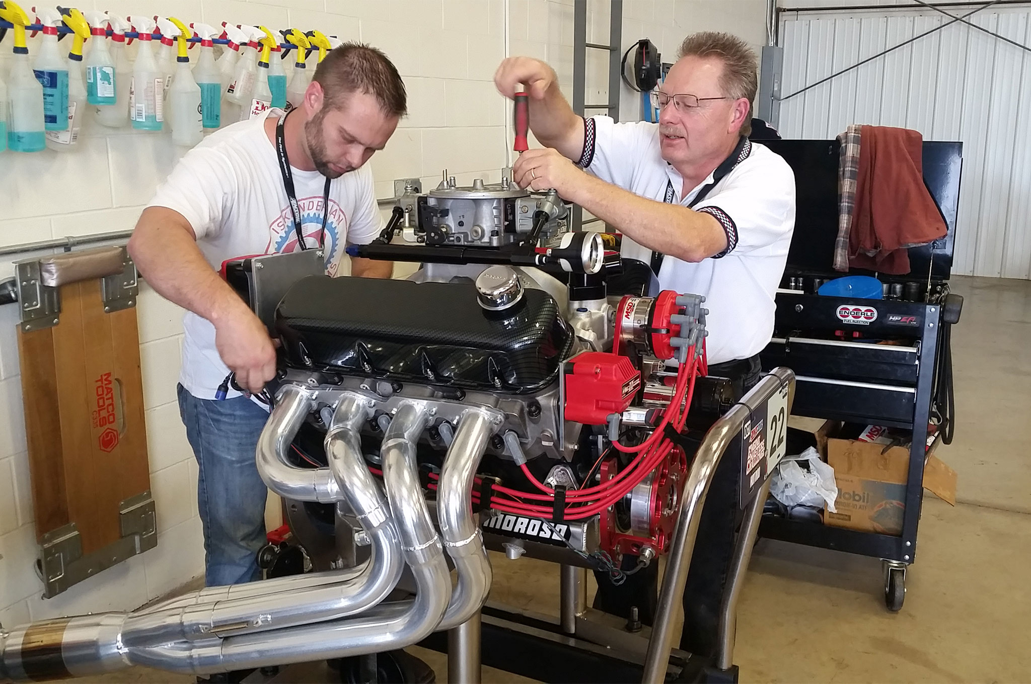 The Roycroft Engines crew readies their 566ci big-block Chevy for tomorrow's Big-Block Shootout. Commonly available off-the-shelf parts, a competition range between 3,000–7,000 rpm, and scoring based on average torque and power keep these engines realistic.