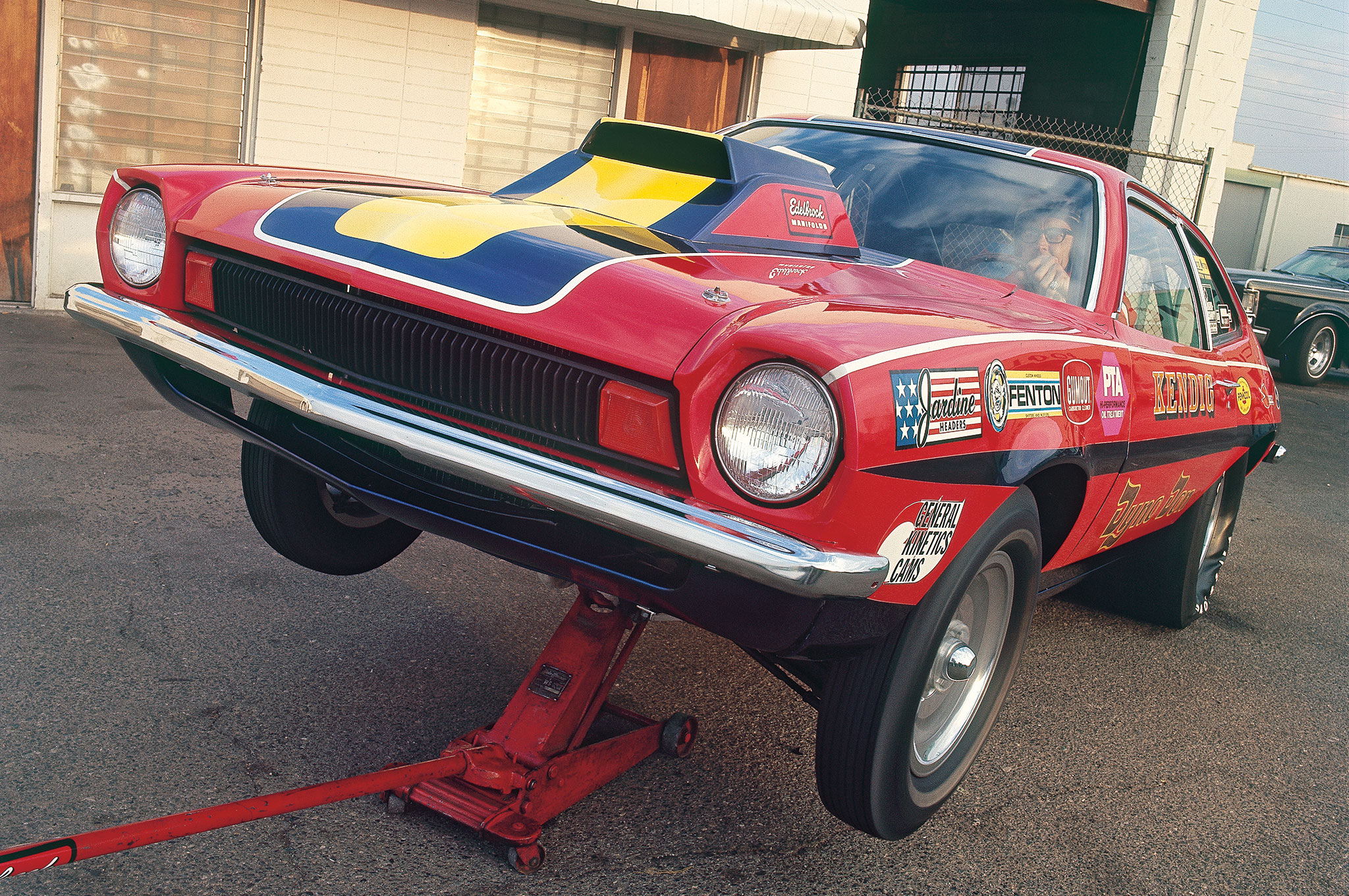 This is an unretouched photo from our photo archives of Dyno Don's 351 Cleveland–powered Pinto that eventually appeared on the cover of the May 1972 Hot Rod. The technique involves airbrushing out the floorjack and the background to simulate a dragstrip launch. Note that the left front tire is spinning but the right front is static.