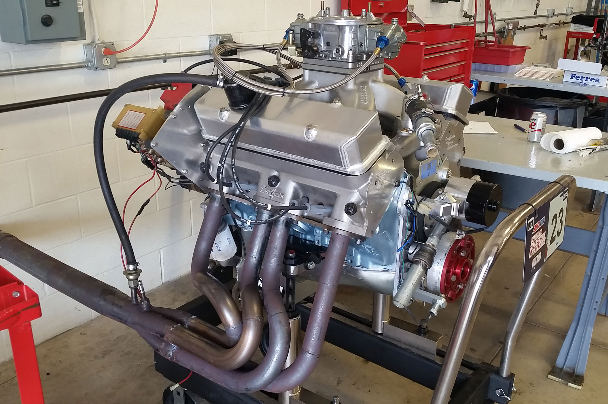 At 465ci, the Semchee Pontiac is the most diminutive engine in the Shootout. With Kaufmann cylinder heads and a scoring system that scales power and torque across displacement, don't count this potent Poncho out!