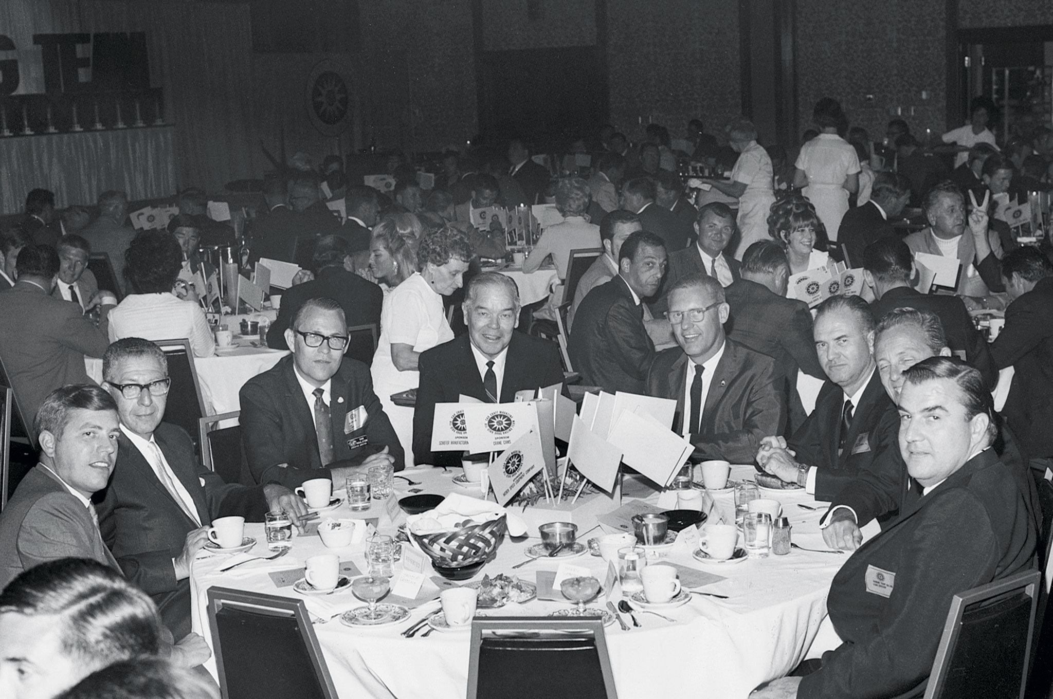 What few realize is that the All-Star banquet actually made it on live television in the Indianapolis area. This is a scene from the 1968 banquet. Third from the left was then CC Editor Dan Roulston, who is credited with the idea for the All-Star Team.