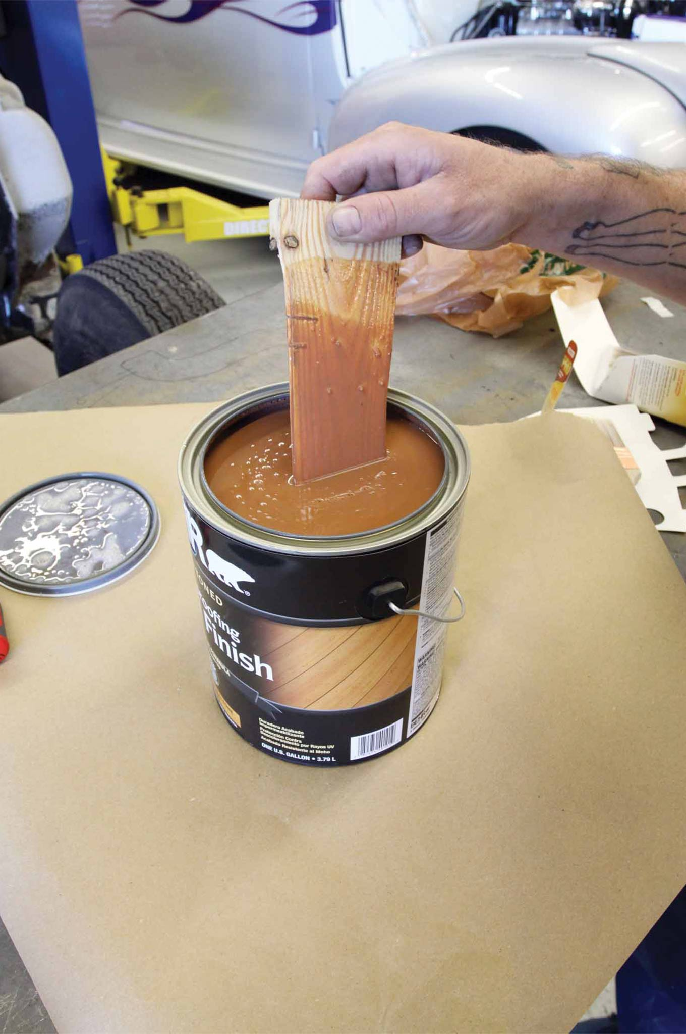 Pick out a wood stain with a hue that complements the color of your truck. We used a one-step weatherproofing stain intended for outdoor patio decks. For a deep glossy finish look to a high-gloss marine varnish.