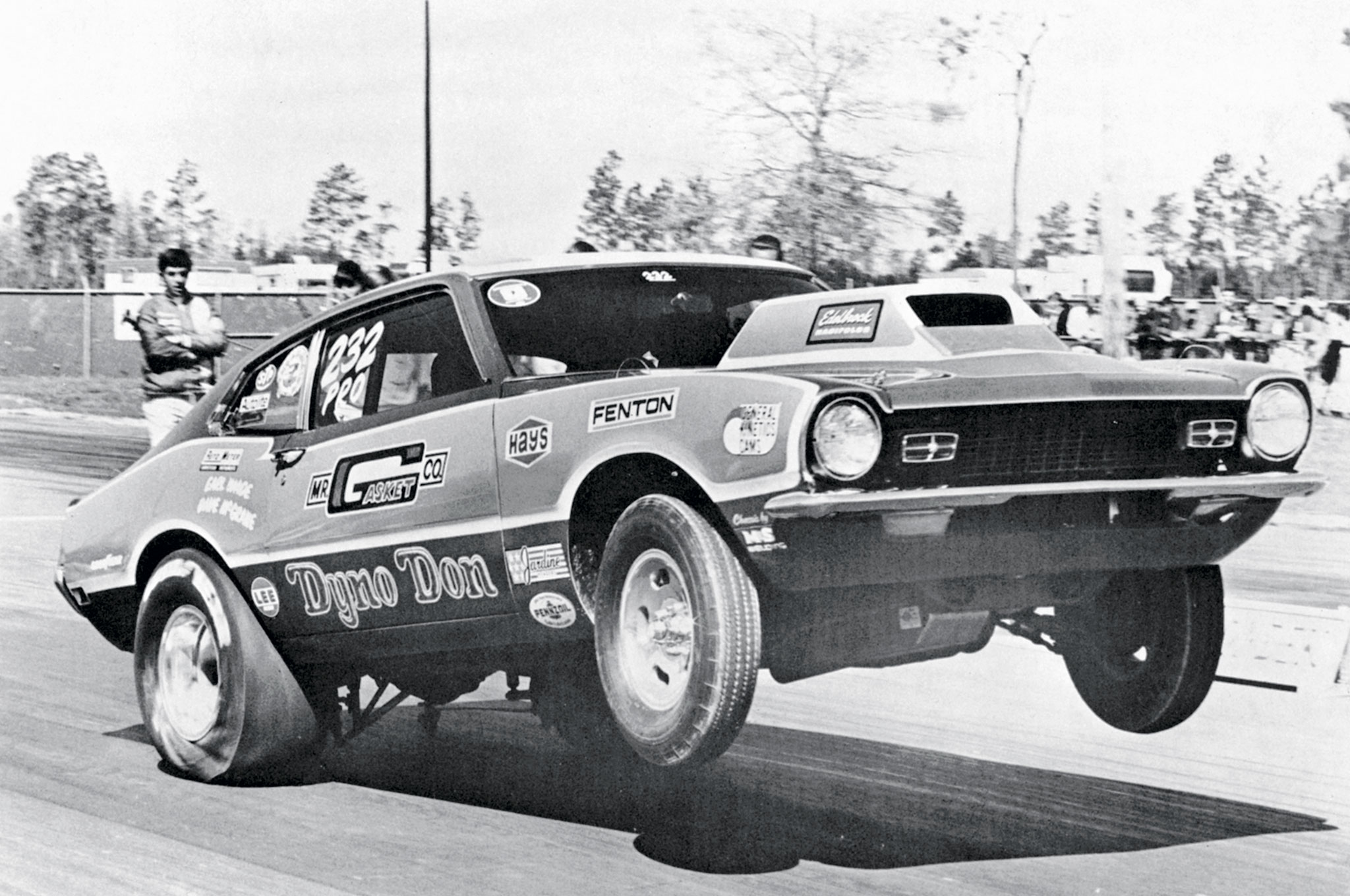 This is one of Kaase's personal photos showing Dyno's Maverick that was Cammer- powered for a time. On the reverse side of the 8x10 photo is a list of Dyno's sponsors with numbers denoting how much each sponsor must have been offering as contingency pay for a particular win. With $100 to $600 each from 14 sponsors, winning meant a lucrative payday—assuming the sponsors came through with the money!