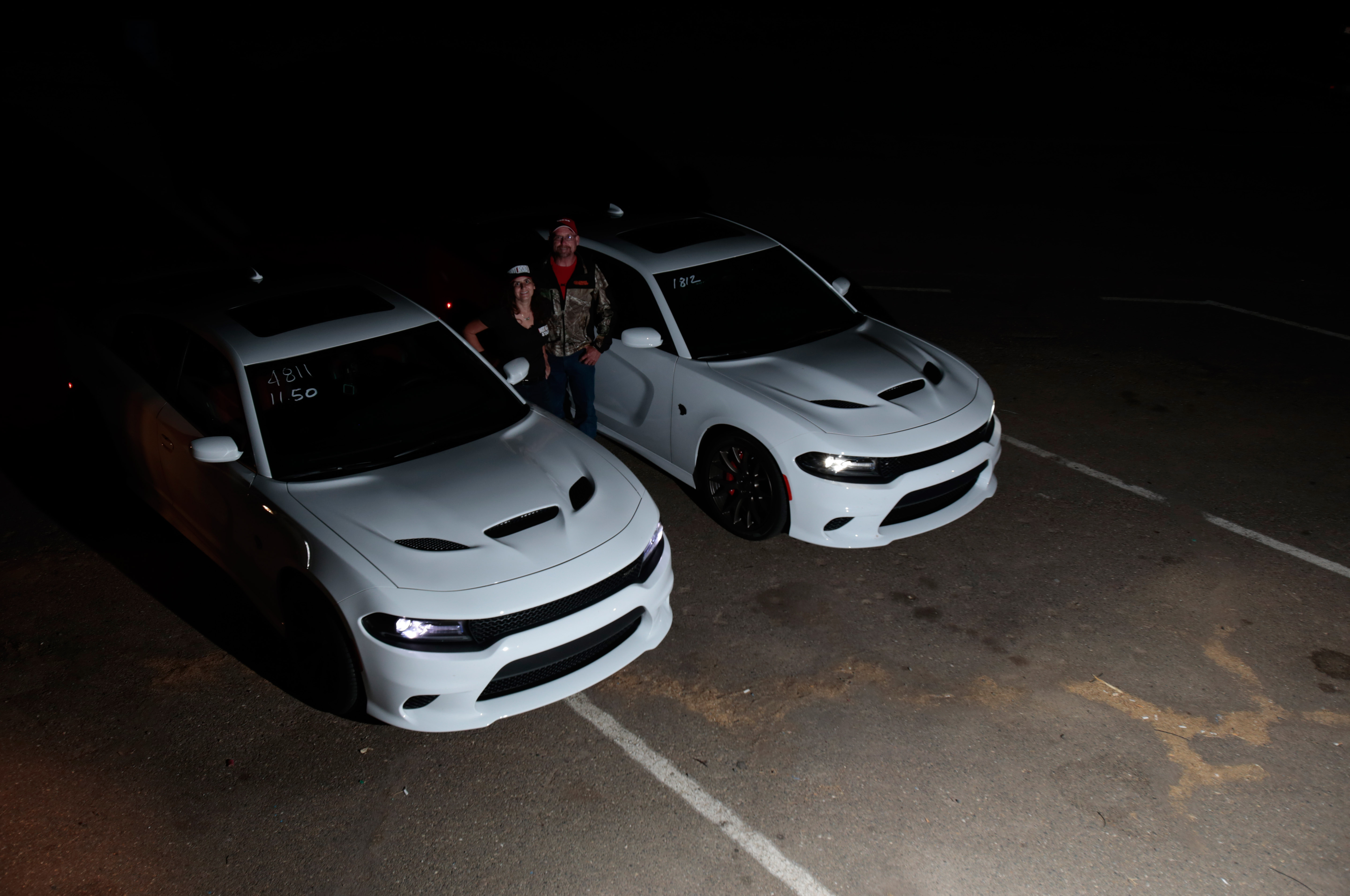 Twinsies! Duane Roots had just purchased a Hellcat Charger. He heard we were at the track and came out for Hellcat bonding time.